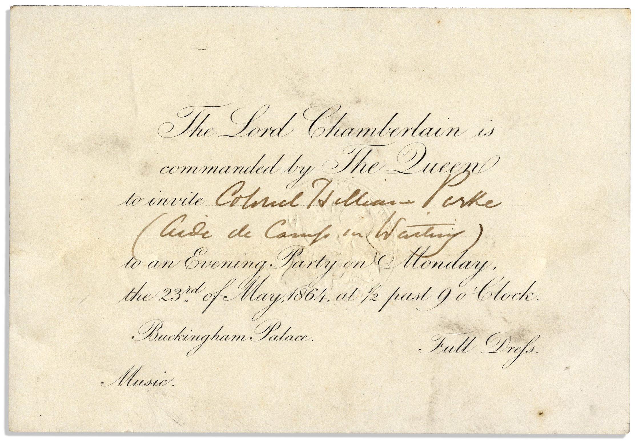 Lot detail rare queen victoria 1864 invitation to buckingham palace rare queen victoria 1864 invitation to buckingham palace stopboris Choice Image