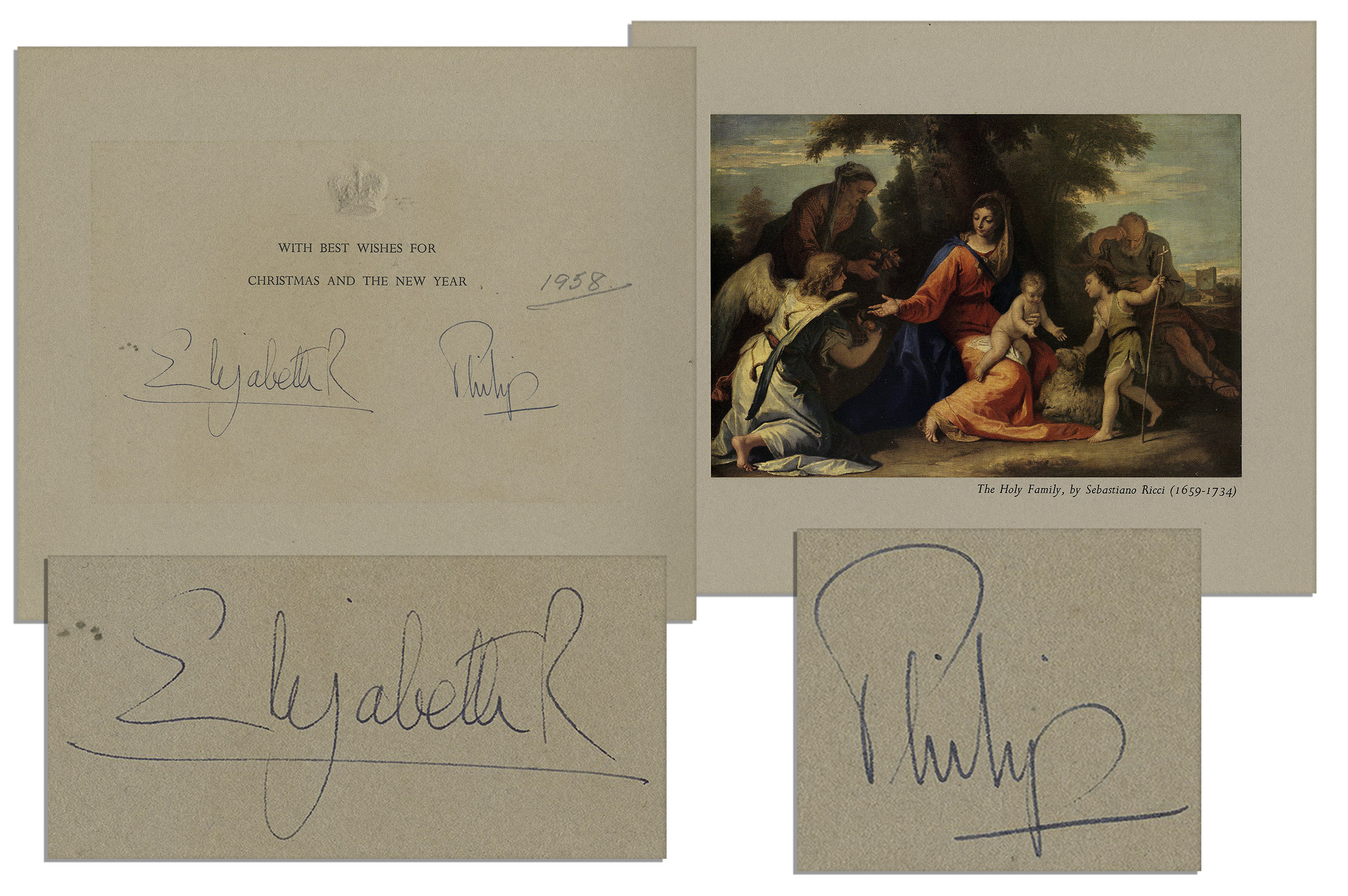 Lot Detail Gorgeous Royal Christmas Card Signed By Queen