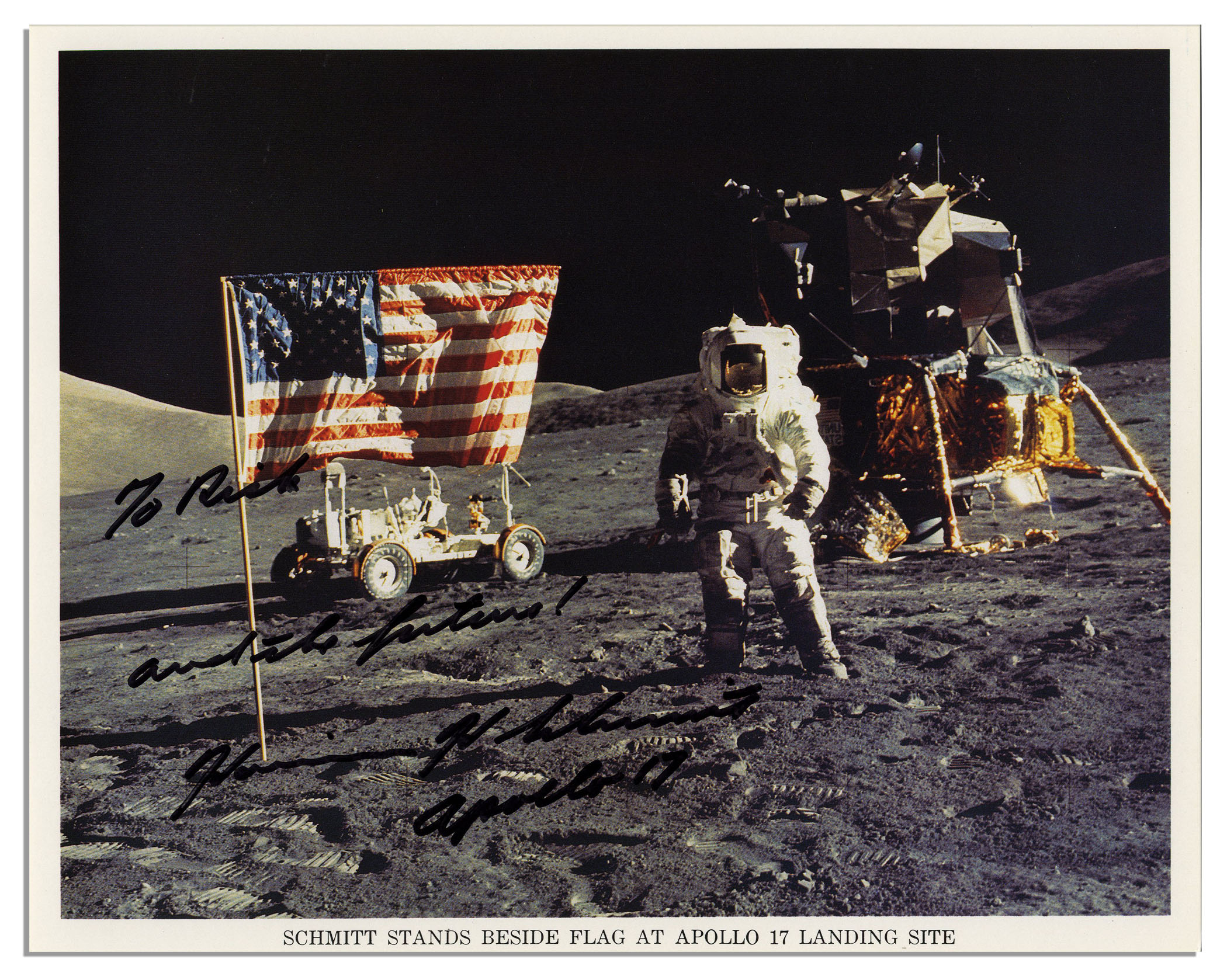 Lot Detail - Signed Lunar Photo of Apollo 17 Astronaut ...