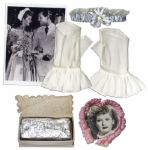 Lucille Ball Bridal Lot -- 5 Items From Her 1949 Church Wedding to Desi Arnaz -- Garter, Gloves, Photo and Cake Box -- With a COA from Lucys Daughter