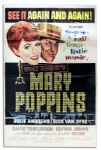 Disney Movie Poster for Mary Poppins With Oscar Statue in the Design -- Film Won 5 Oscars, the Most for Any Disney Movie