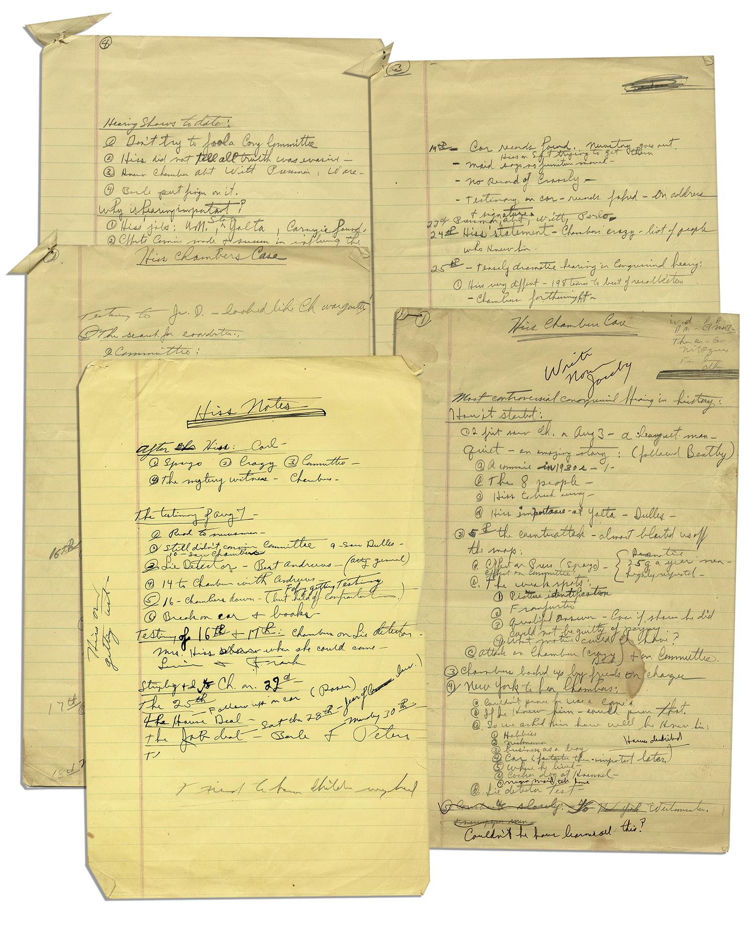 Lot Detail Richard Nixons Amazing Handwritten Notes On Alger - Put us on the map