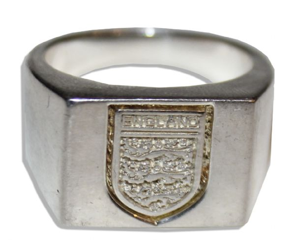FA Cup Solid 9 Carat Gold Medal From Manchester United's Record 11th Championship Victory in 2004 -- Fine -- With Sterling Silver Ring