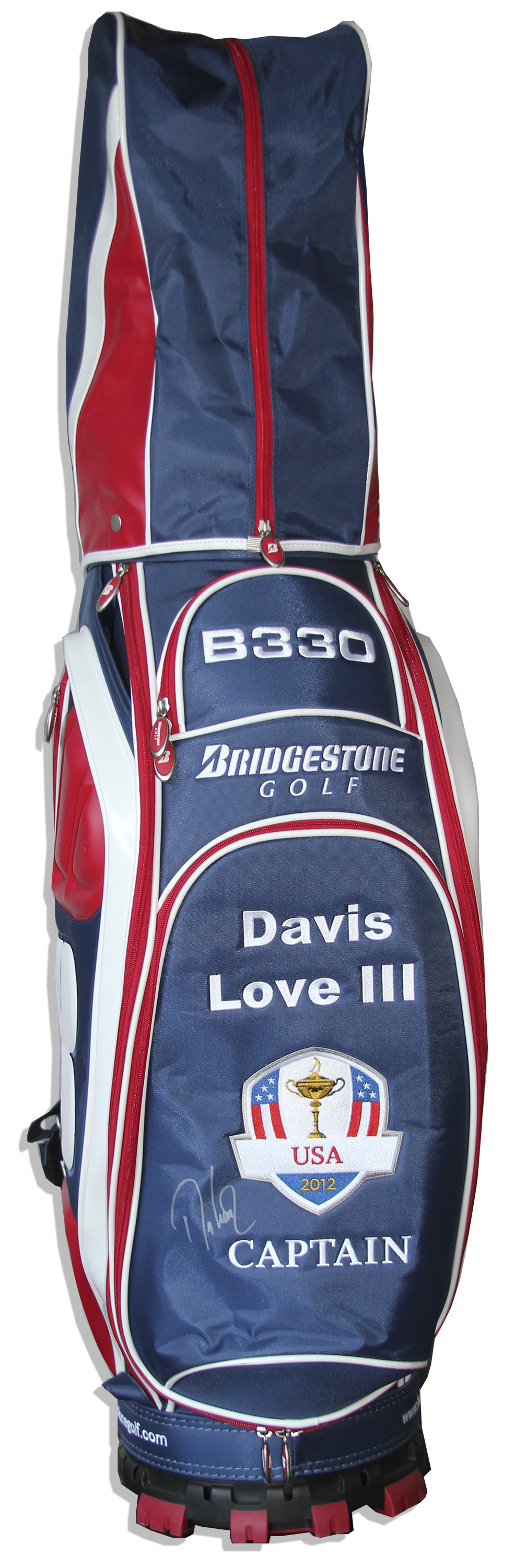 Lot detail davis love iii signed golf bag used at the