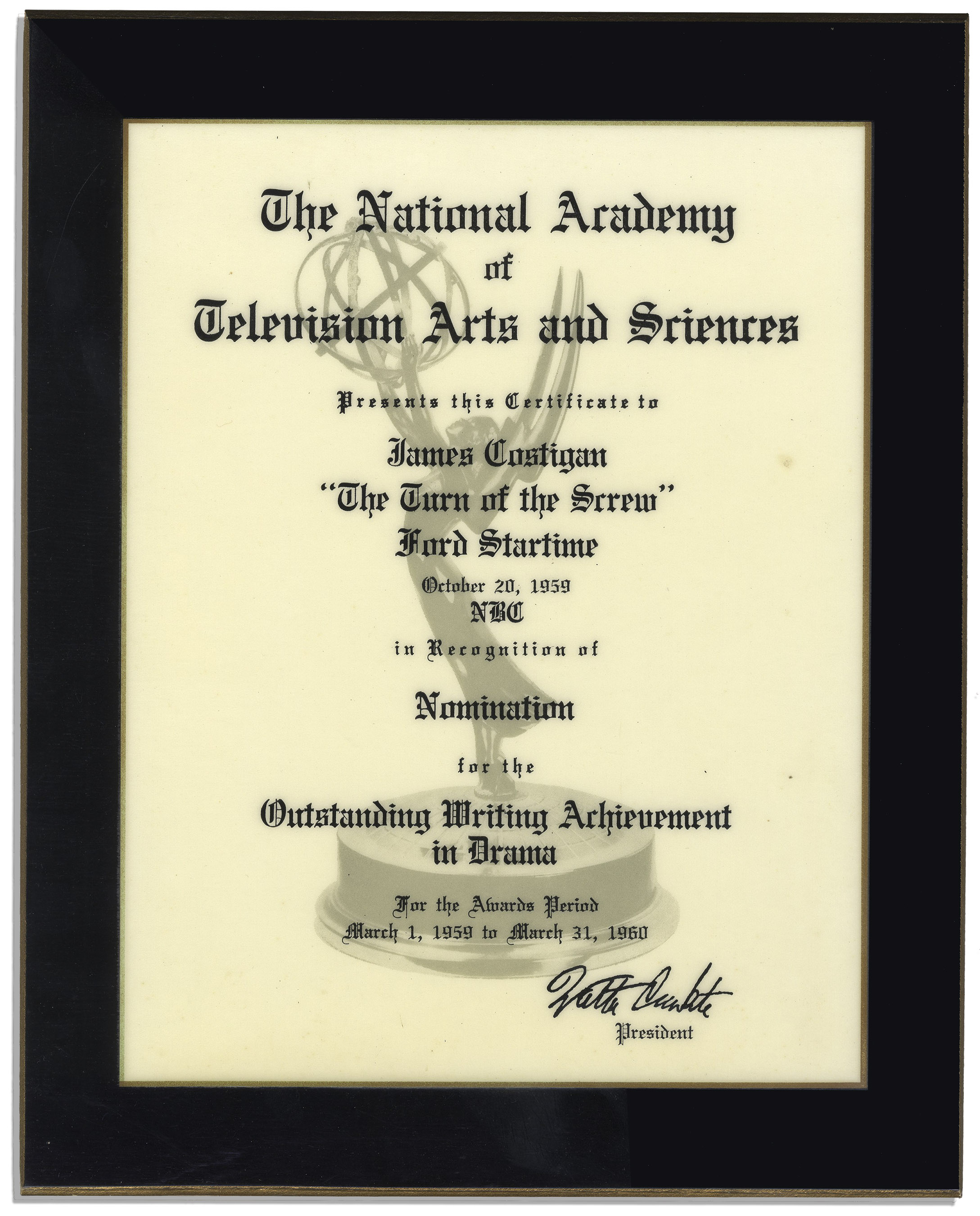 Lot detail emmy nomination certificate from 1959 james emmy nomination certificate from 1959 james costigans nomination for writing the turn yadclub Gallery