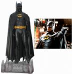 The Batsuit Worn by Michael Keaton in Batman From 1989 -- Measures Over 7 Tall on Custom Display