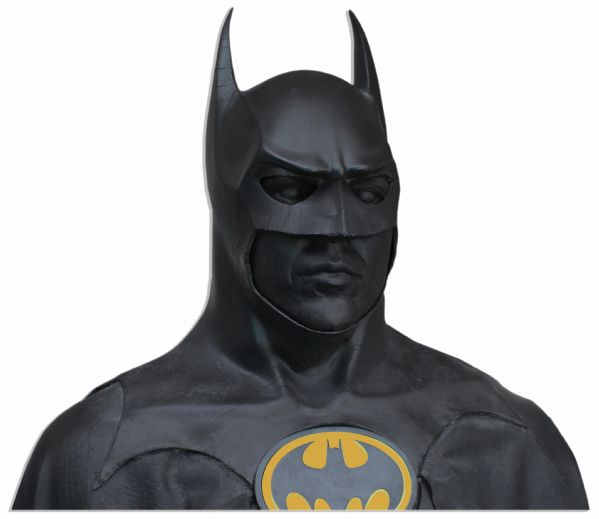Batman Dark Knight Memorabilia The Batsuit Worn by Michael Keaton in ''Batman'' From 1989 -- Measures Over 7' Tall on Custom Display