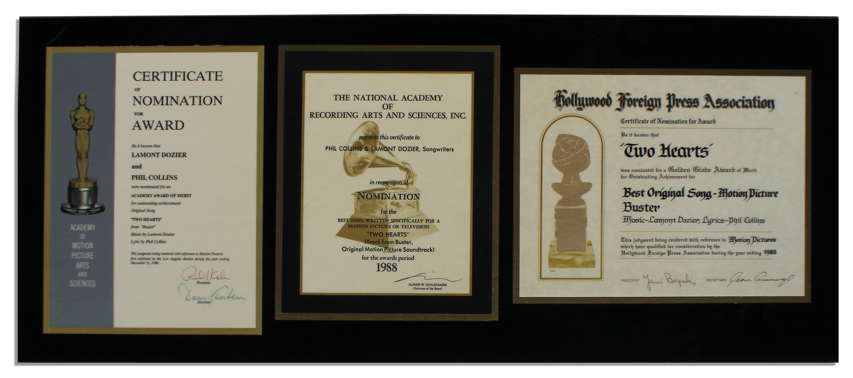 Lot detail trio of nomination certificates for entertainments trio of nomination certificates for entertainments most prestigious awards academy award grammy yadclub Choice Image