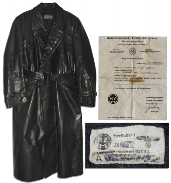 Albert Speer's Personally Owned Black Leather Jacket -- Possibly Worn by Speer When He Last Visited Hitler on 23 April 1945