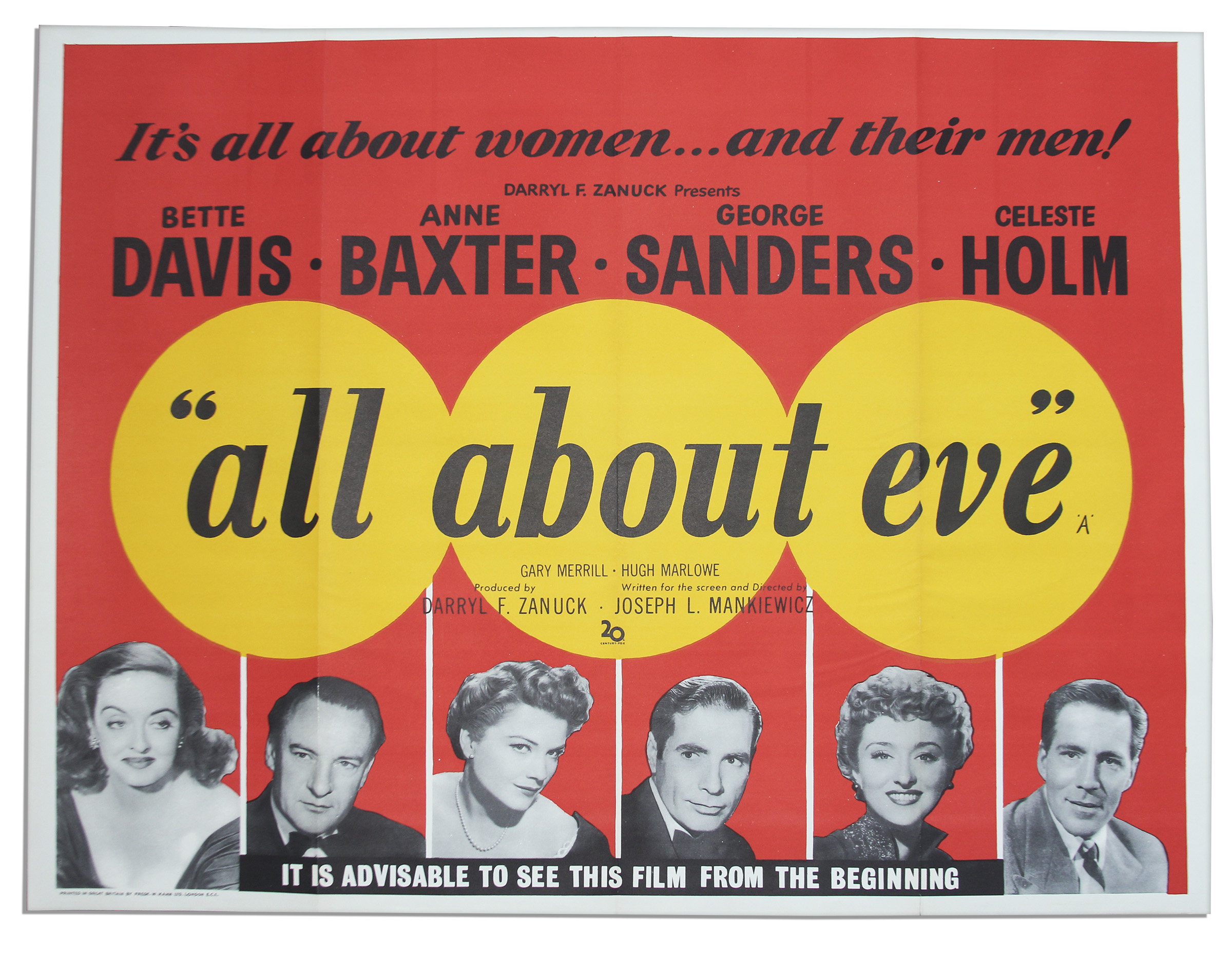 Lot Detail - ''All About Eve'' British Edition Quad Poster -- Measures 40''  x 30''