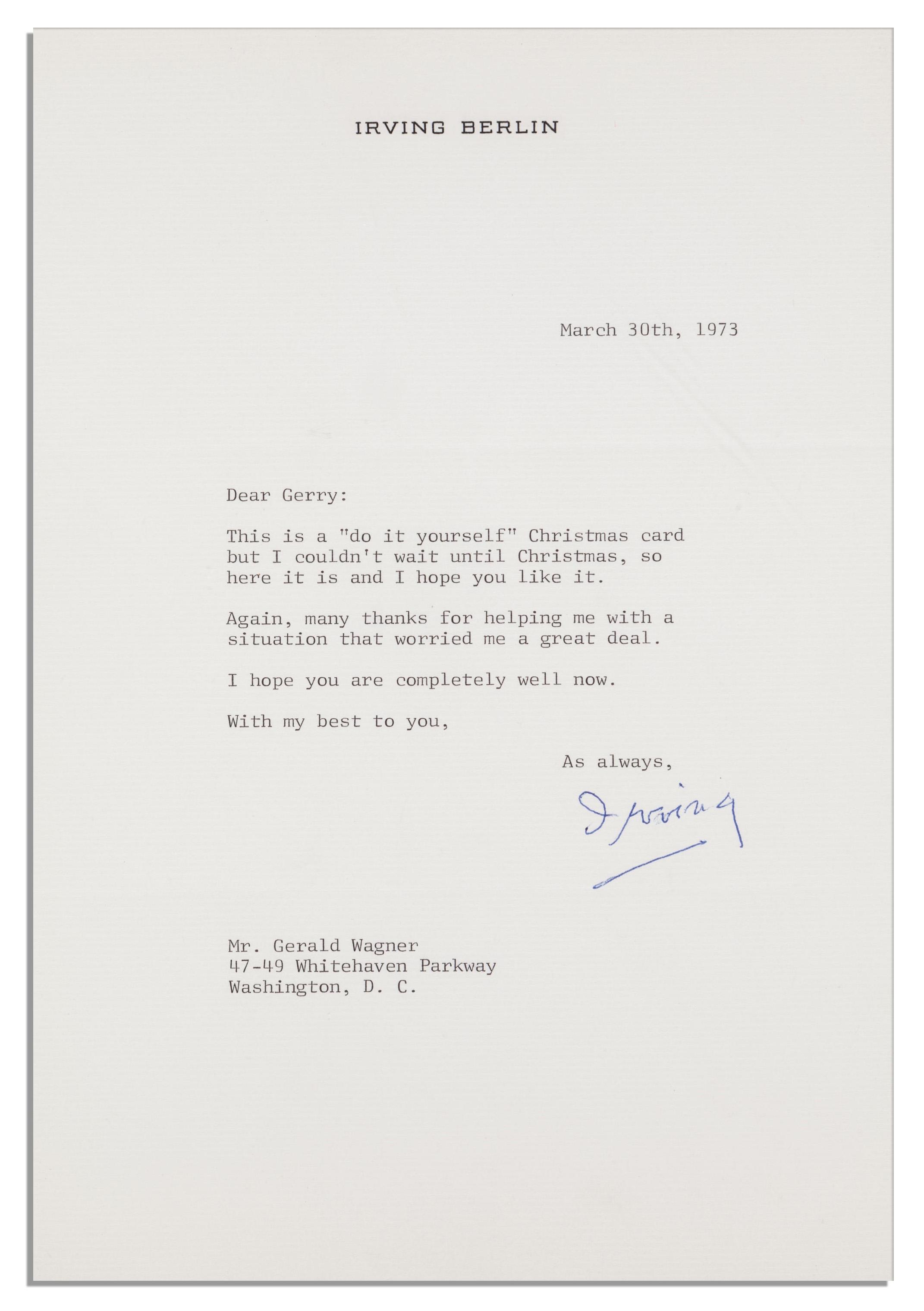 Lot Detail - Irving Berlin Original Artwork & Autograph Musical ...