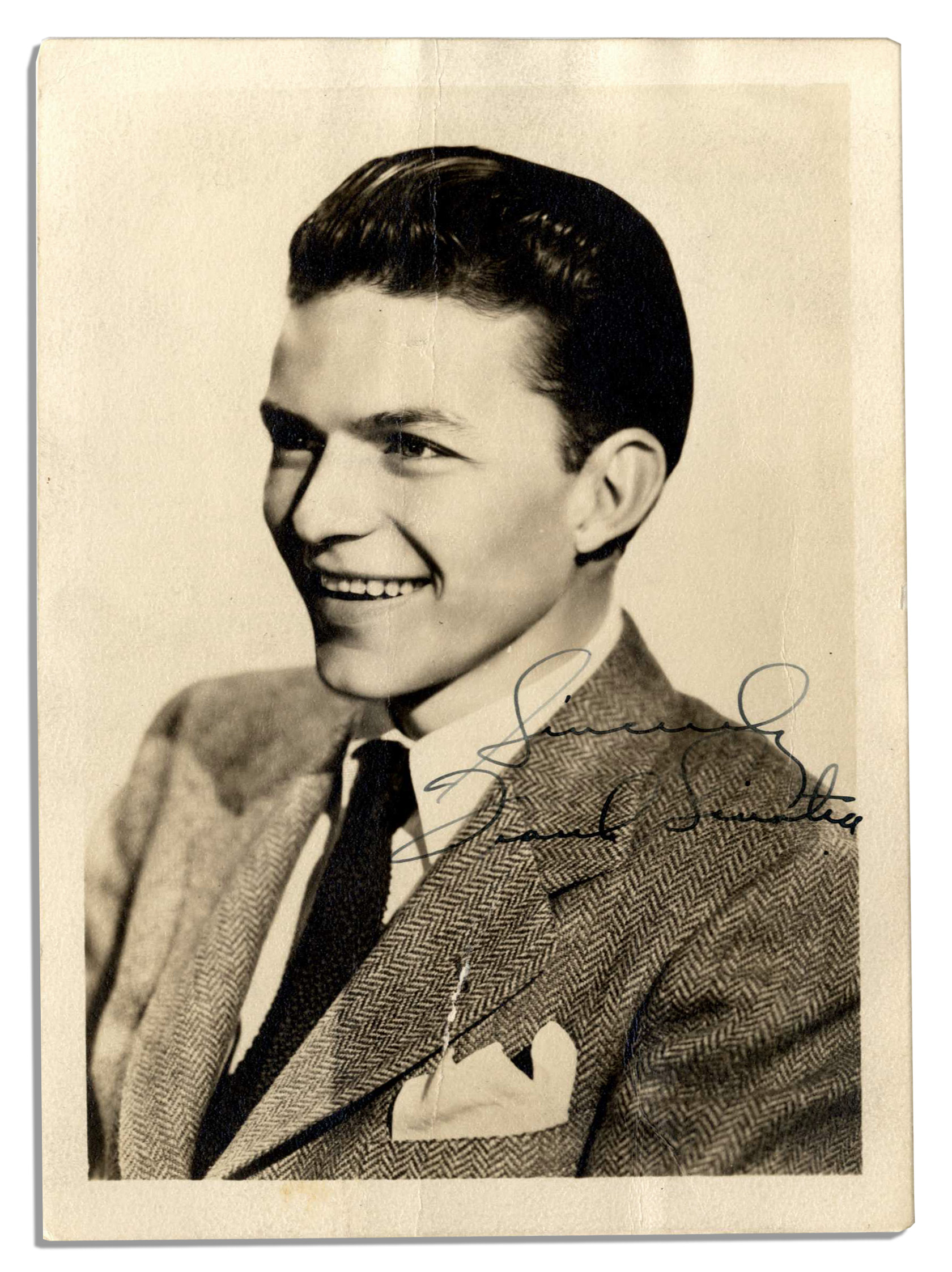 A Young Teen Girl With Long Curly Blond Hair Is Outside: A Young Frank Sinatra Signed Photo -- With