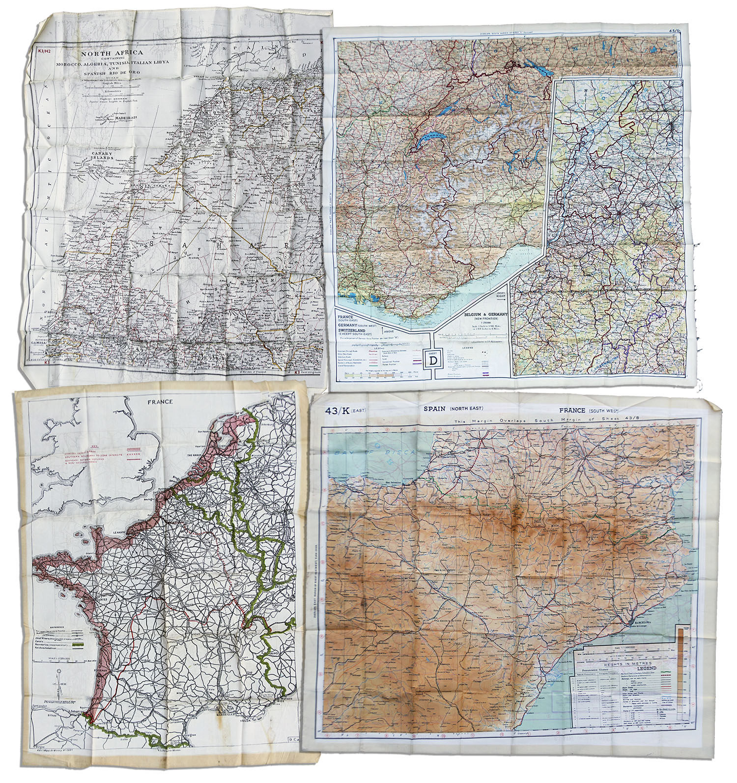 Lot Of 4 Wwii Escape Maps Printed On Silk Issued To U S Air Force Pilots