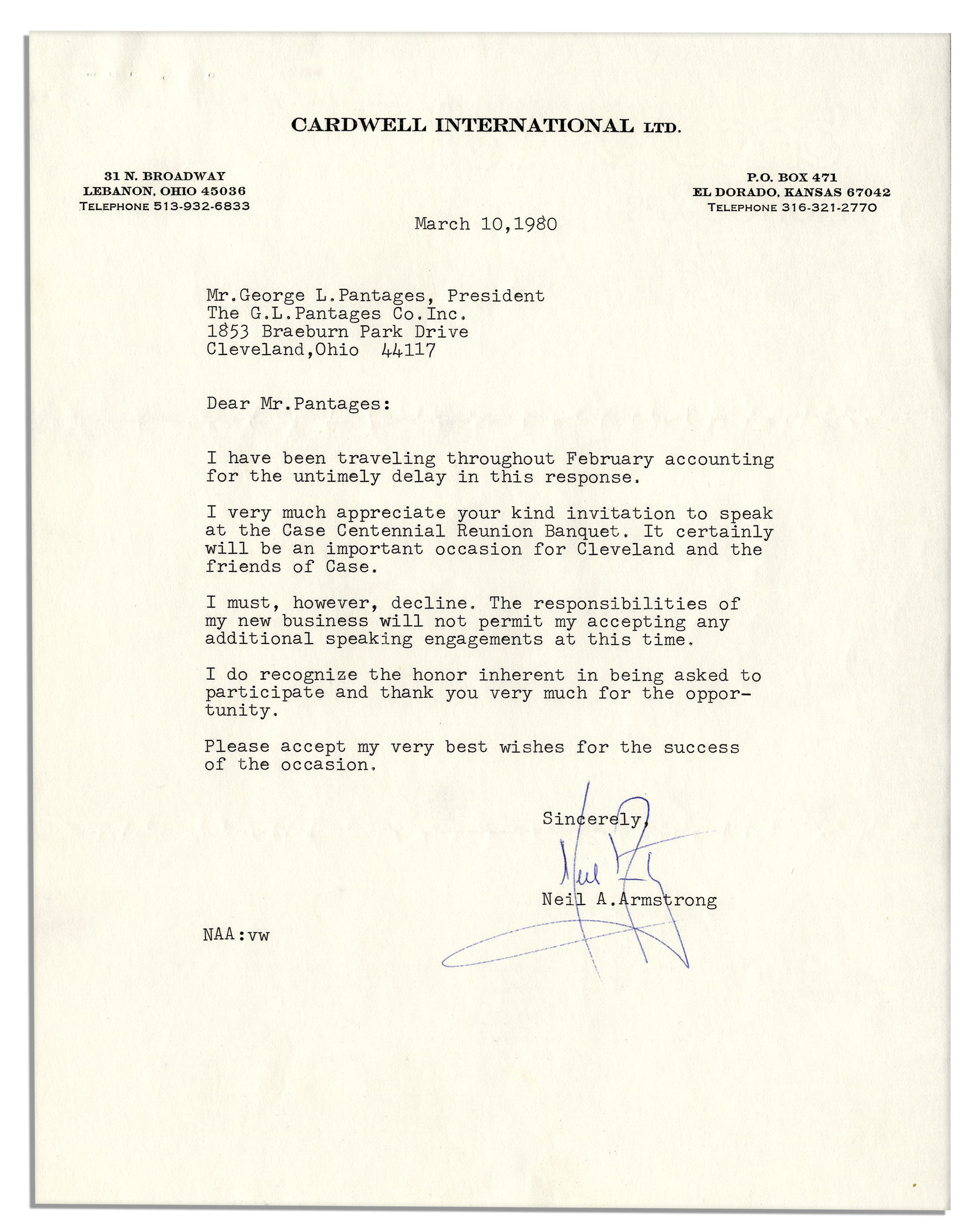 Lot detail neil armstrong 1980 typed letter signed neil armstrong 1980 typed letter signed spiritdancerdesigns Choice Image