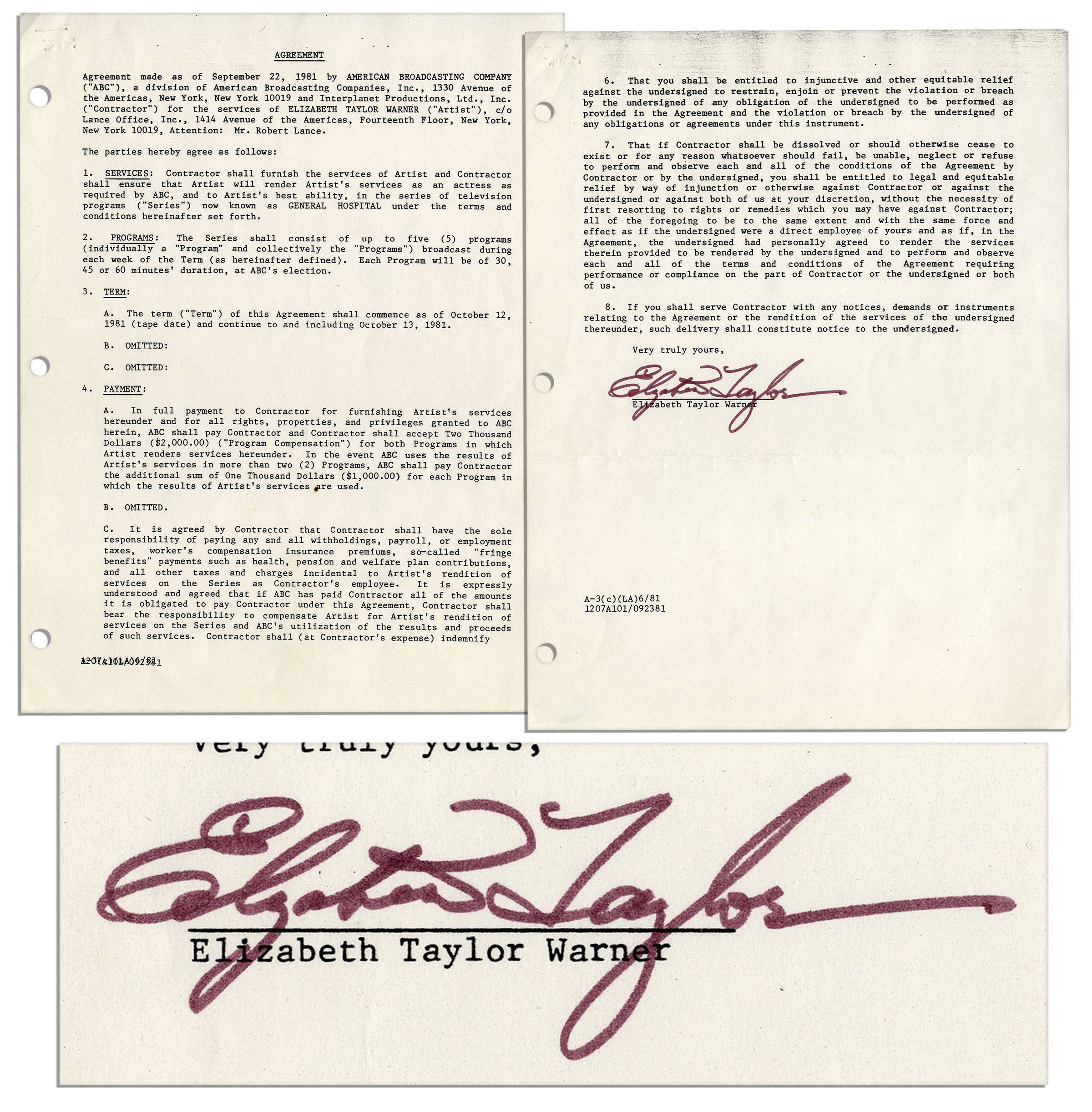 Lot Detail Elizabeth Taylor Signed Contract For General Hospital