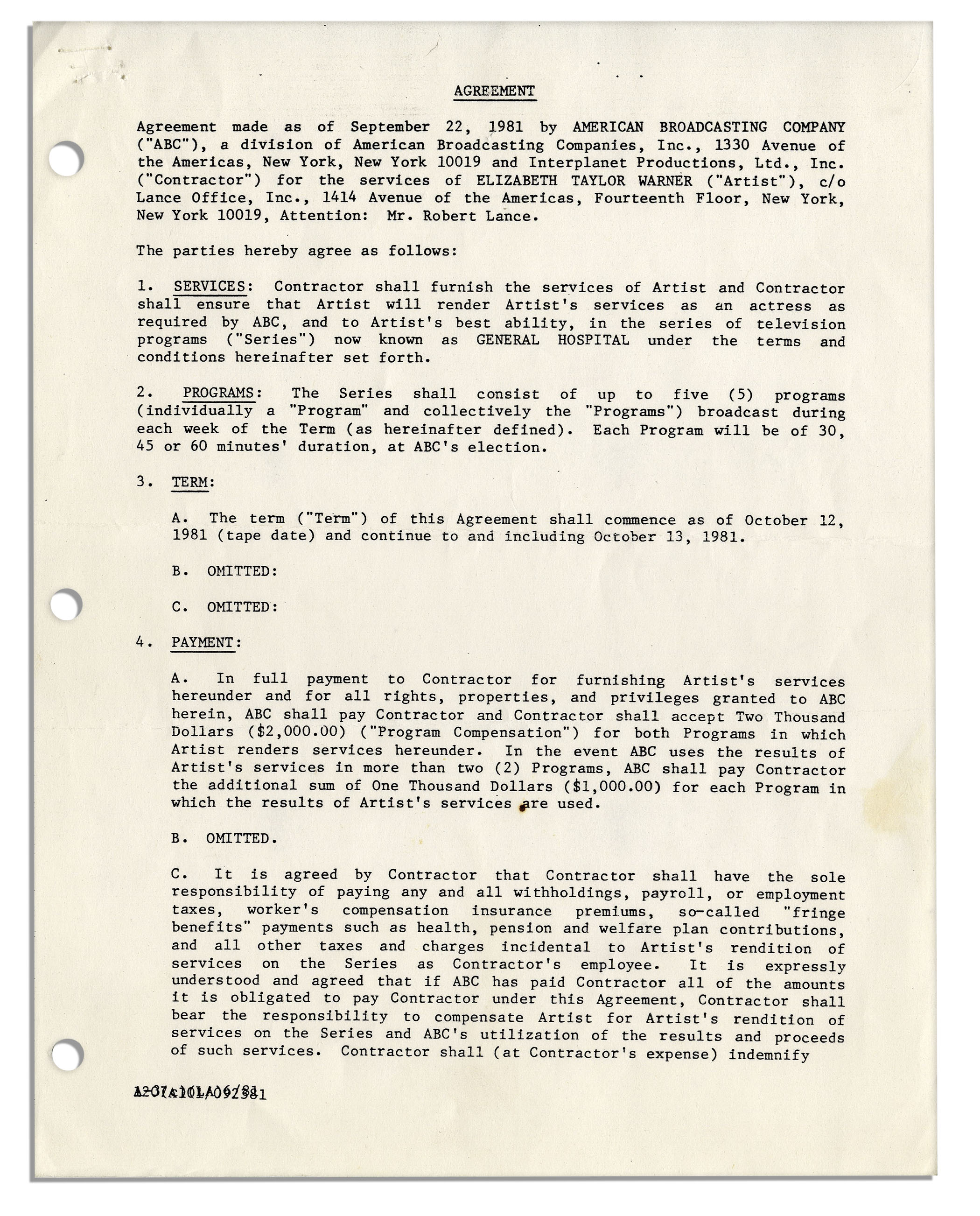 Lot detail elizabeth taylor signed contract for general hospital elizabeth taylor signed contract for general hospital platinumwayz