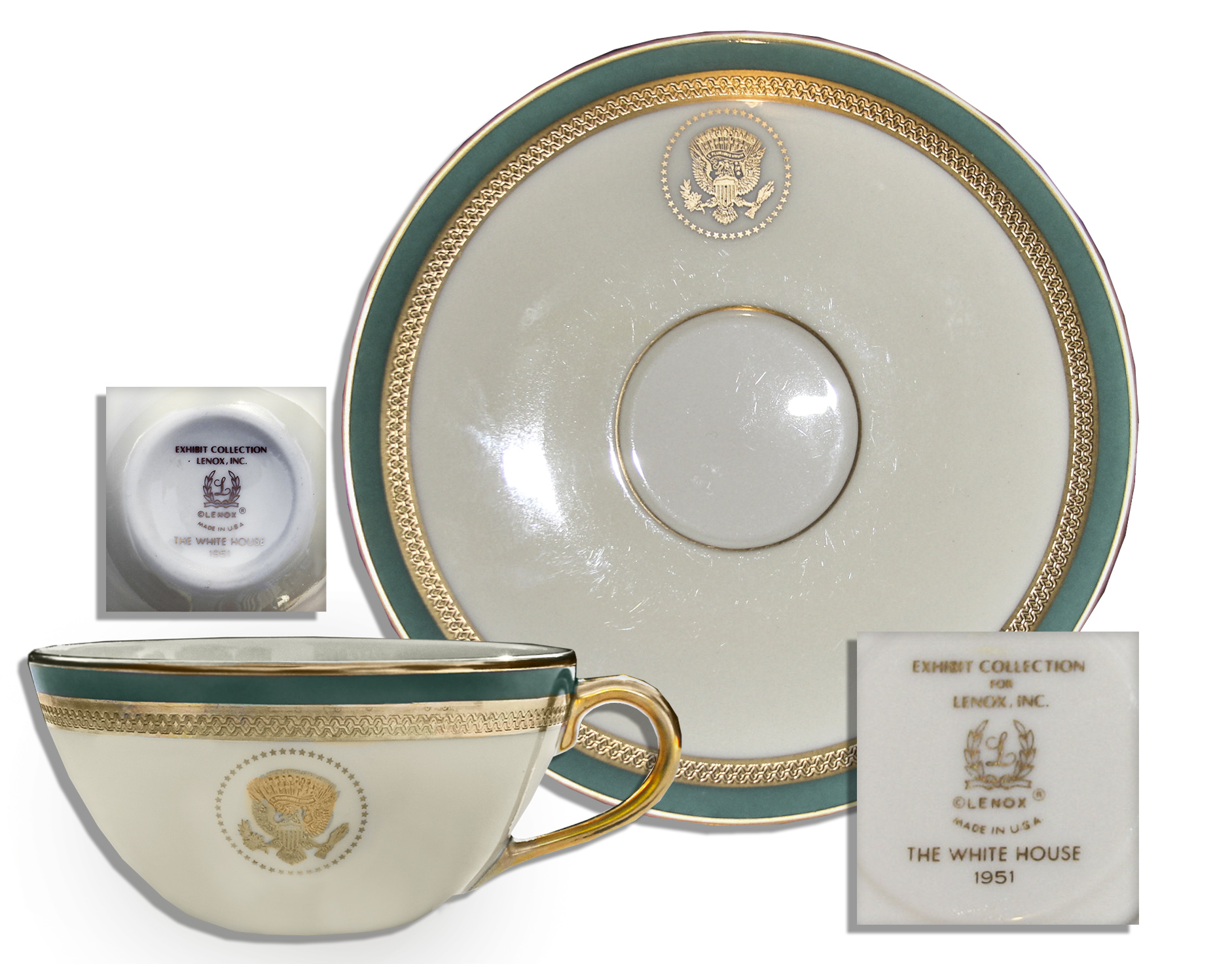 Harry Truman Memorabilia Harry S. Truman White House Exhibit China -- Cup & Saucer by Lenox -- Fine