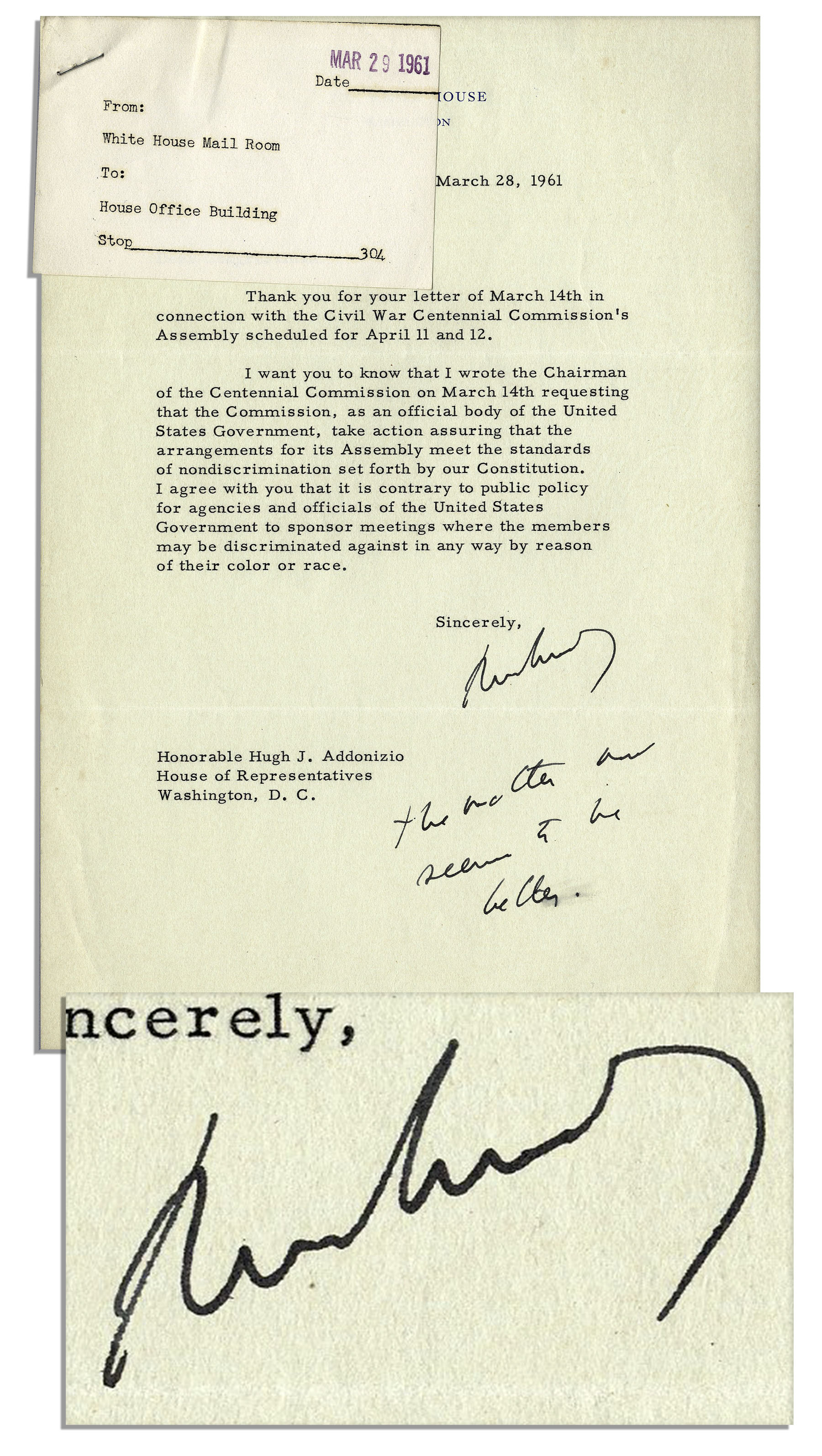 John F Kennedy Autograph John F. Kennedy Letter Signed as President, Regarding Civil Rights -- ''...the standards of nondiscrimination set forth by our Constitution...'' -- With Autograph Postscript by JFK & PSA COA