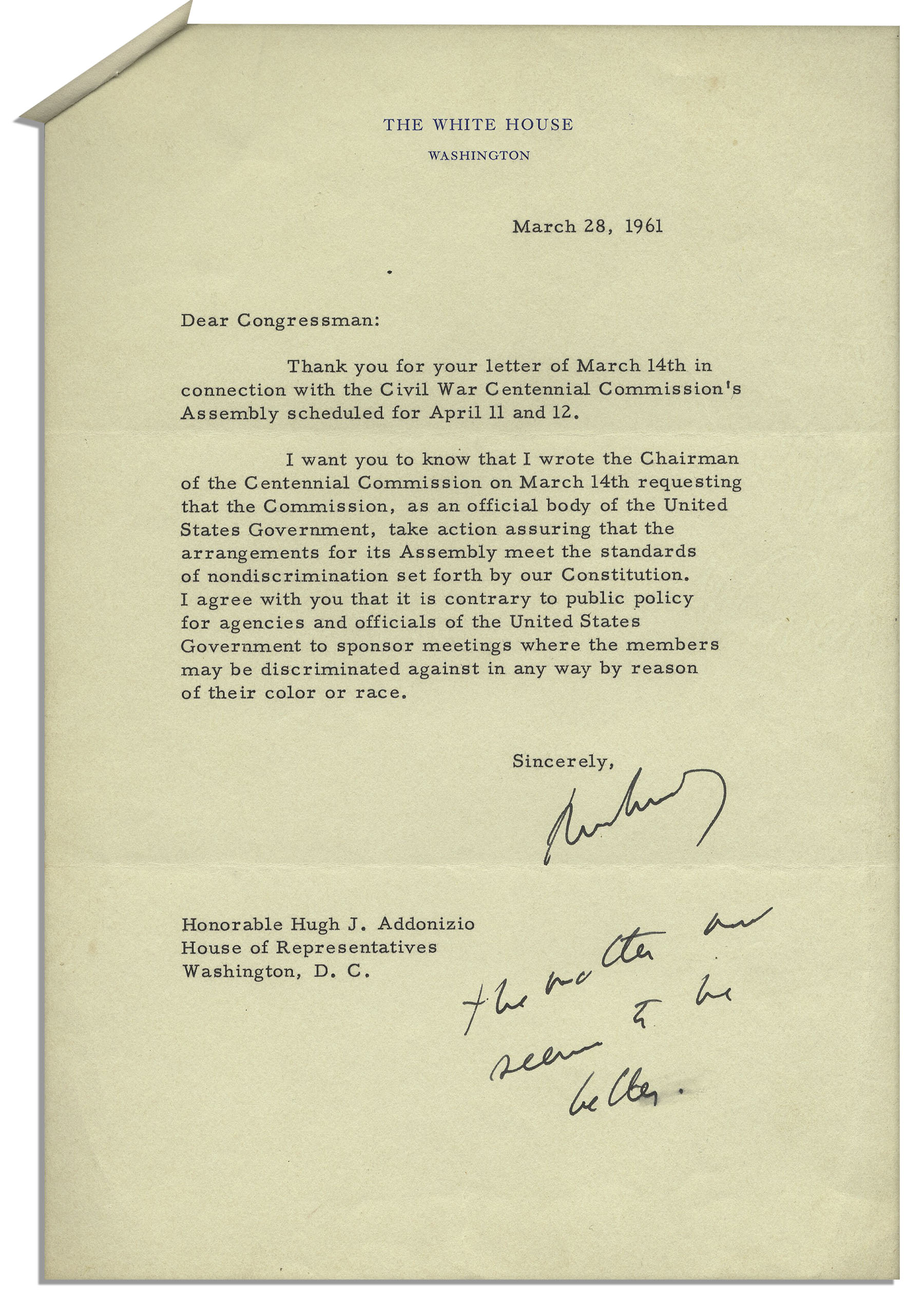 Lot Detail - John F. Kennedy Letter Signed as President ...