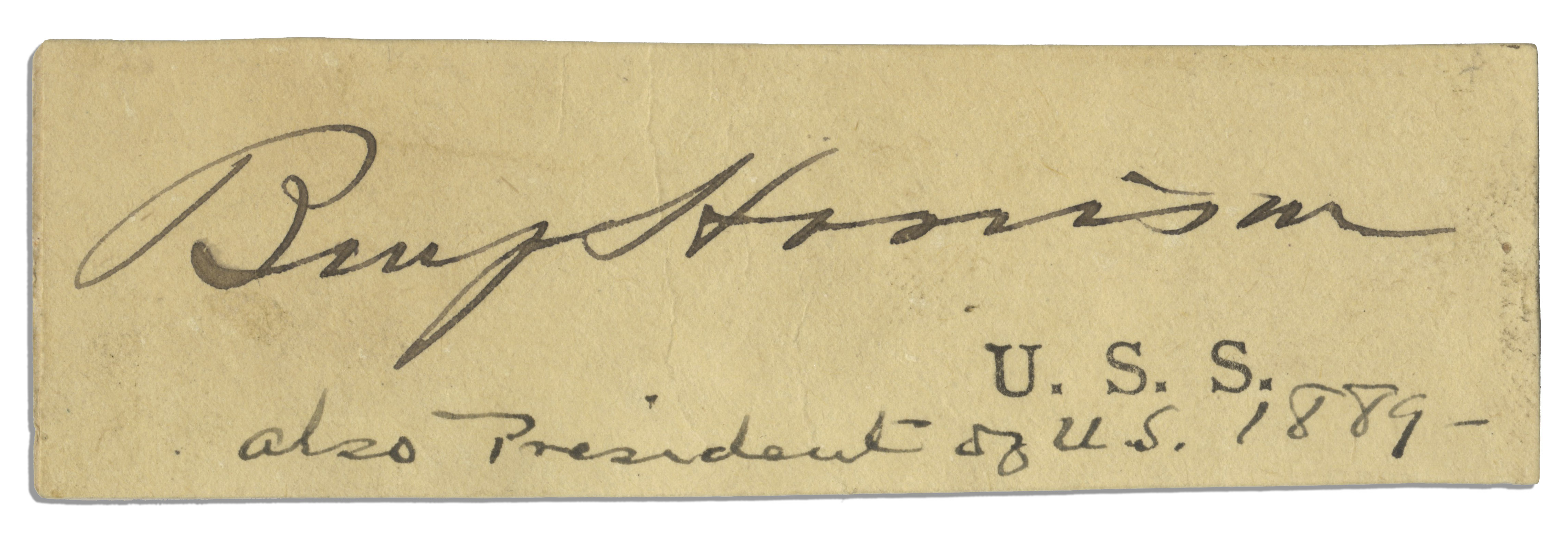 Lot Detail Benjamin Harrison Signature