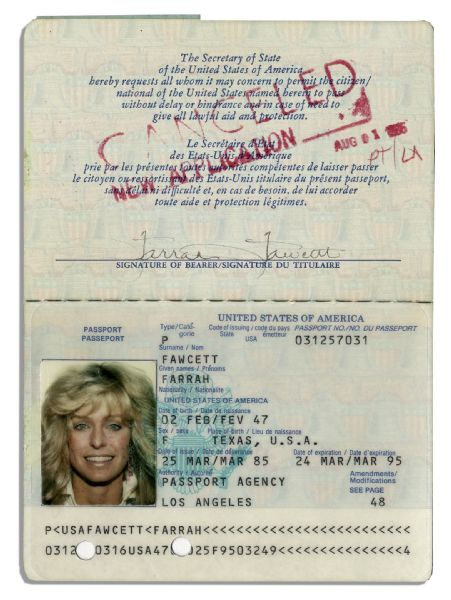 Farrah Fawcett's Passport -- Twice Signed & With Lovely Color Photo