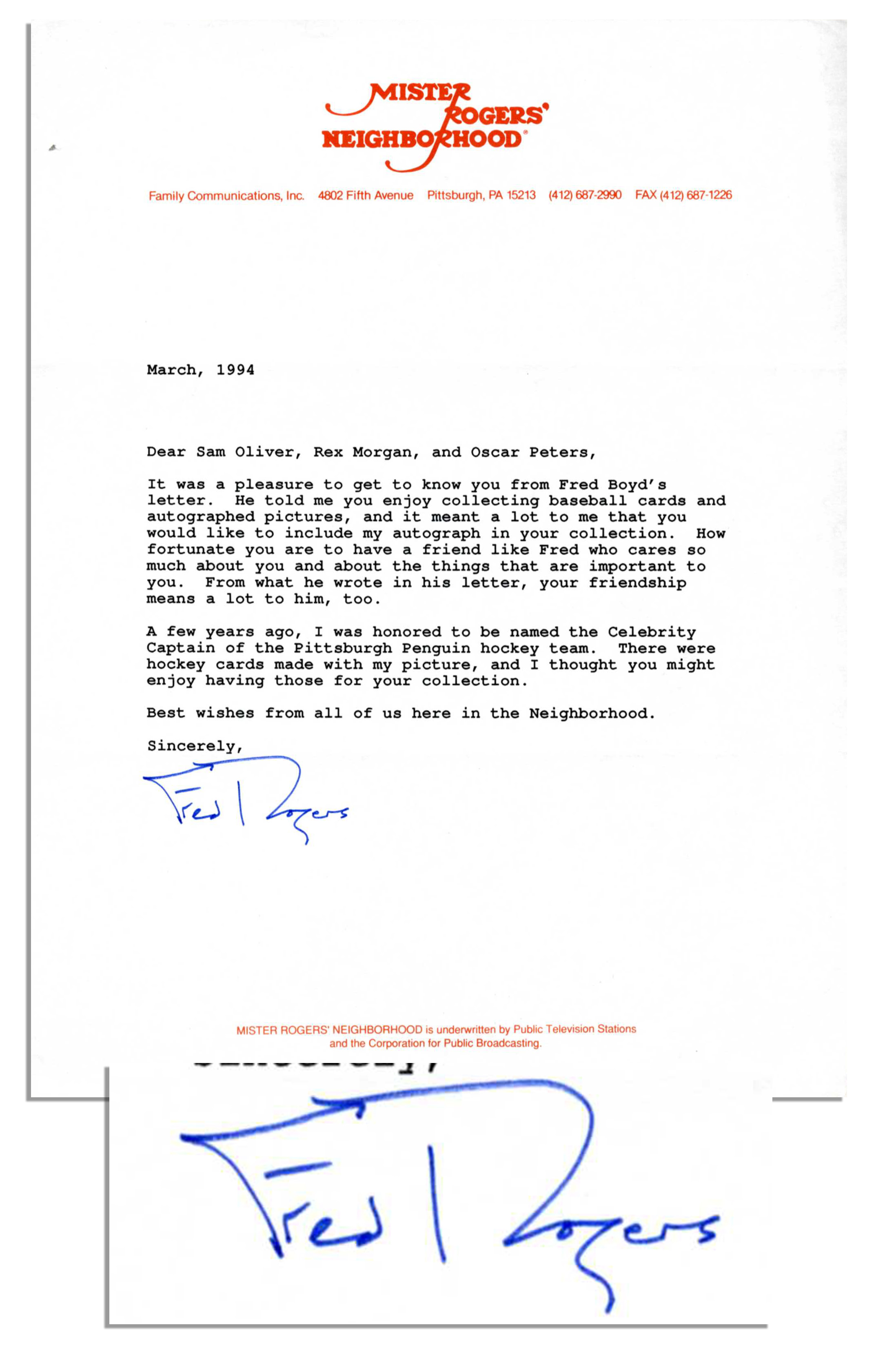 Lot Detail Fred Rogers Typed Letter Signed Best Wishes From All Of Us Here In The Neighborhood