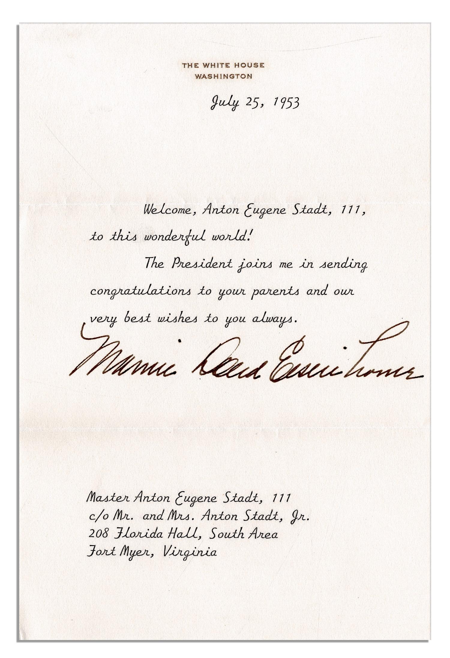 Lot Detail Mamie Eisenhower Typed Letter Signed On White