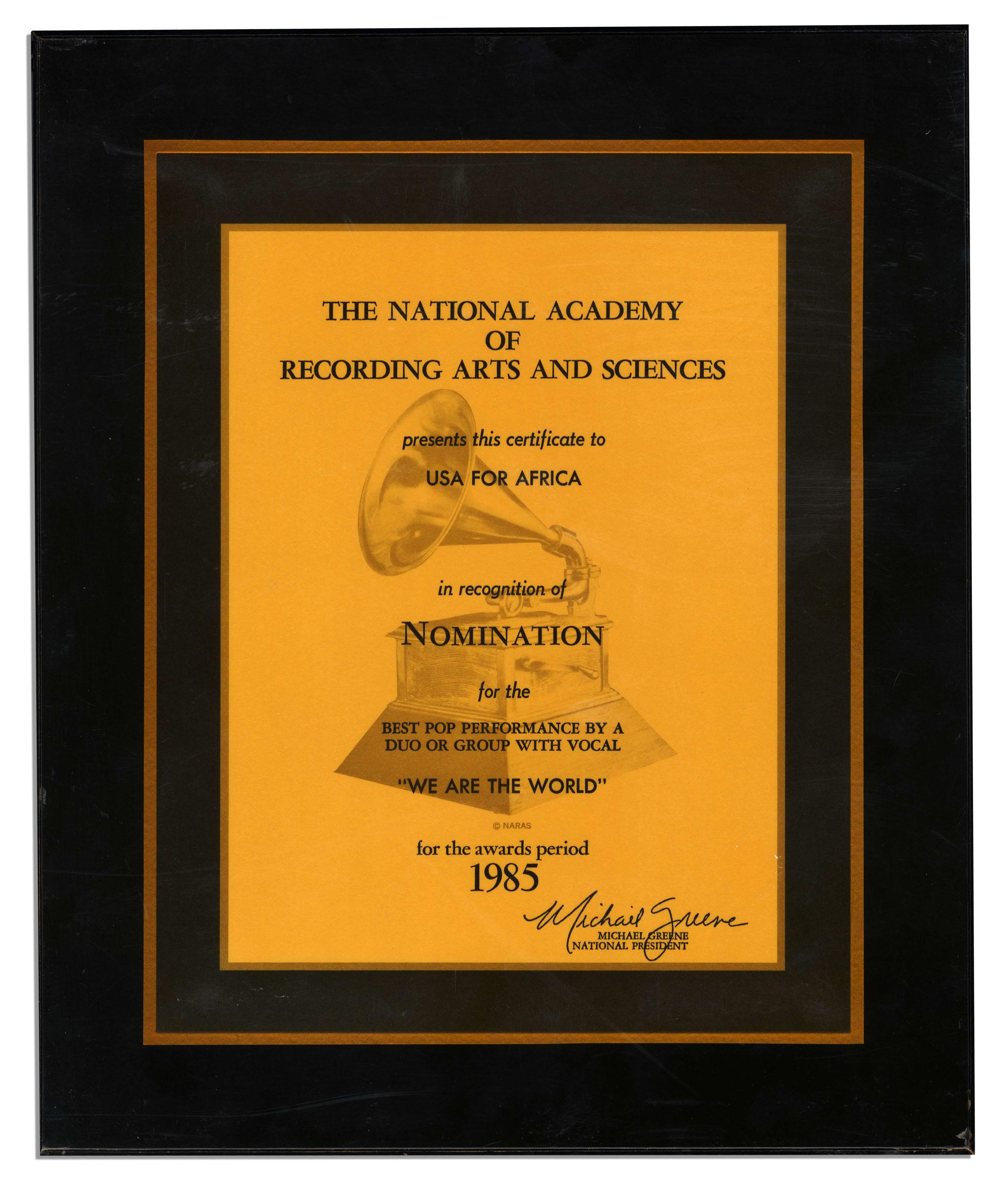 Lot Detail - Michael Jackson\'s 1985 Grammy Award Nomination ...