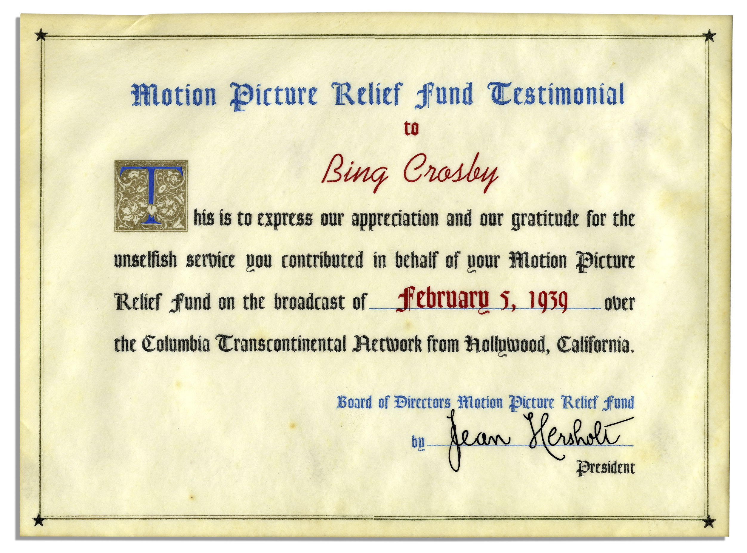 Lot Detail Bing Crosbys Appreciation Certificate From The Motion