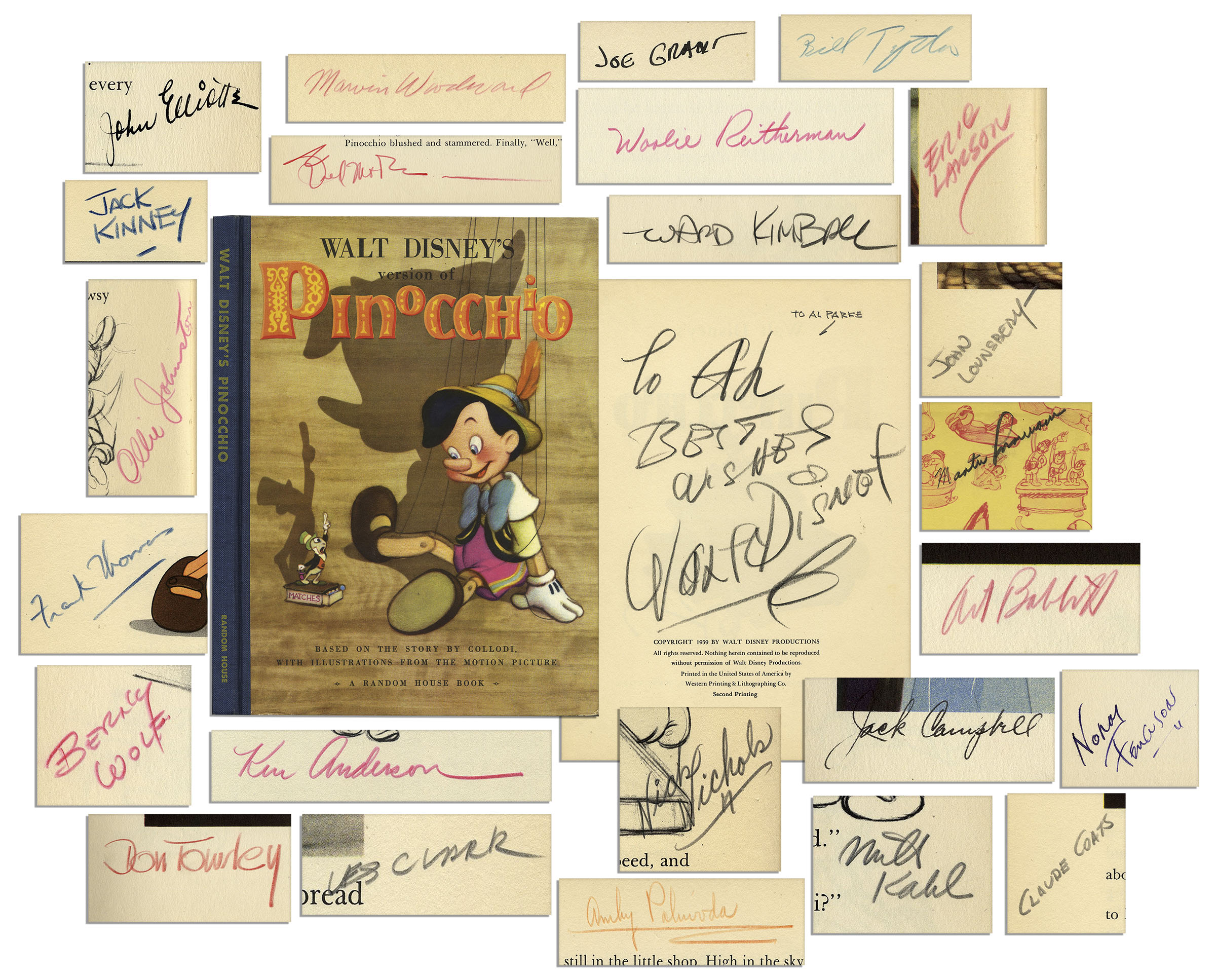 Walt Disney Autograph Walt Disney ''Pinocchio'' Book Signed -- With The Signatures of More Than 20 Early Disney Animators