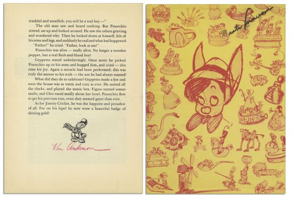 Walt Disney ''Pinocchio'' Book Signed -- With The Signatures of More Than 20 Early Disney Animators