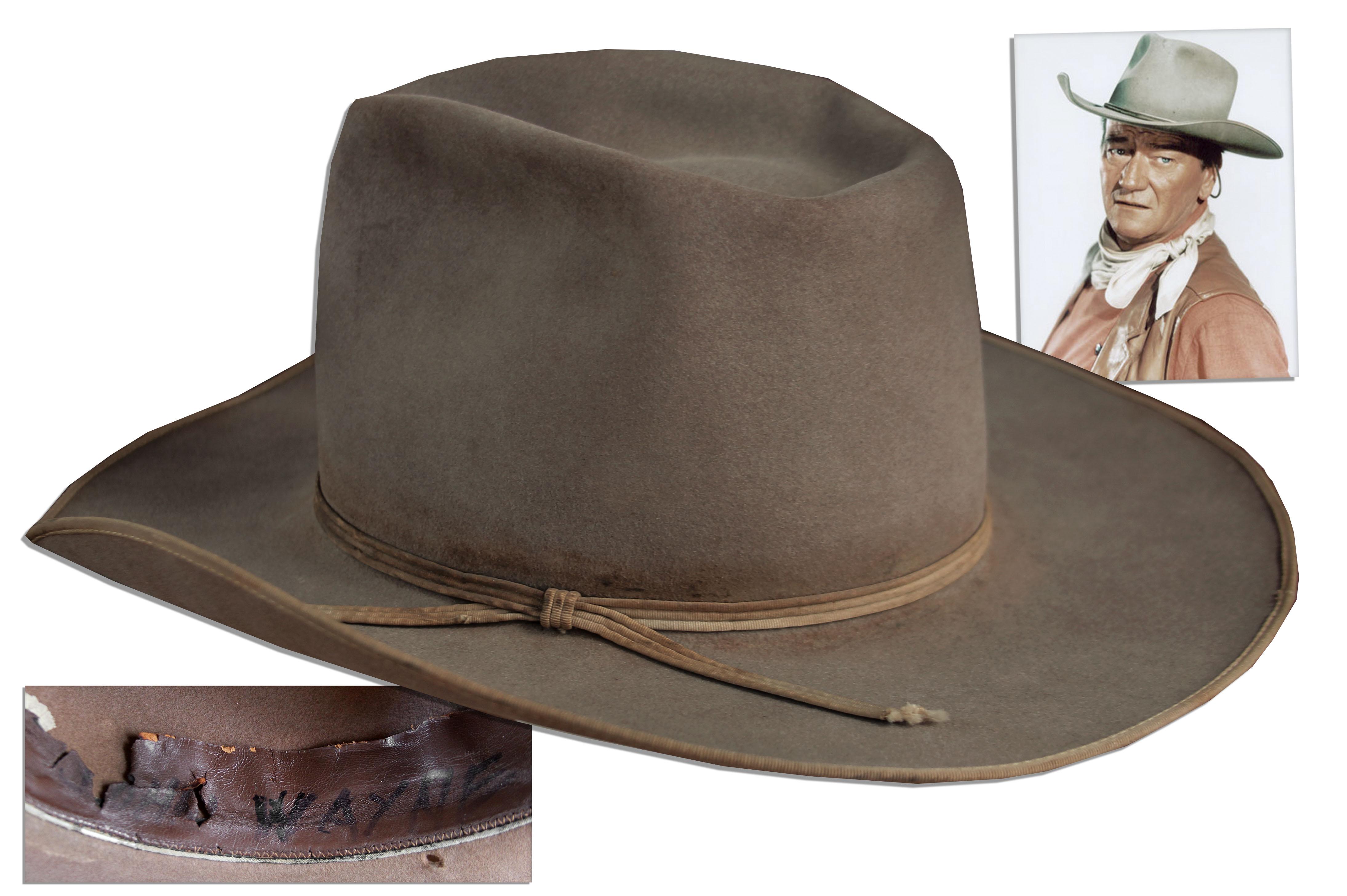 3b693497f73 John Wayne Worn Costume Auction. Scarce John Wayne Cowboy Hat ...