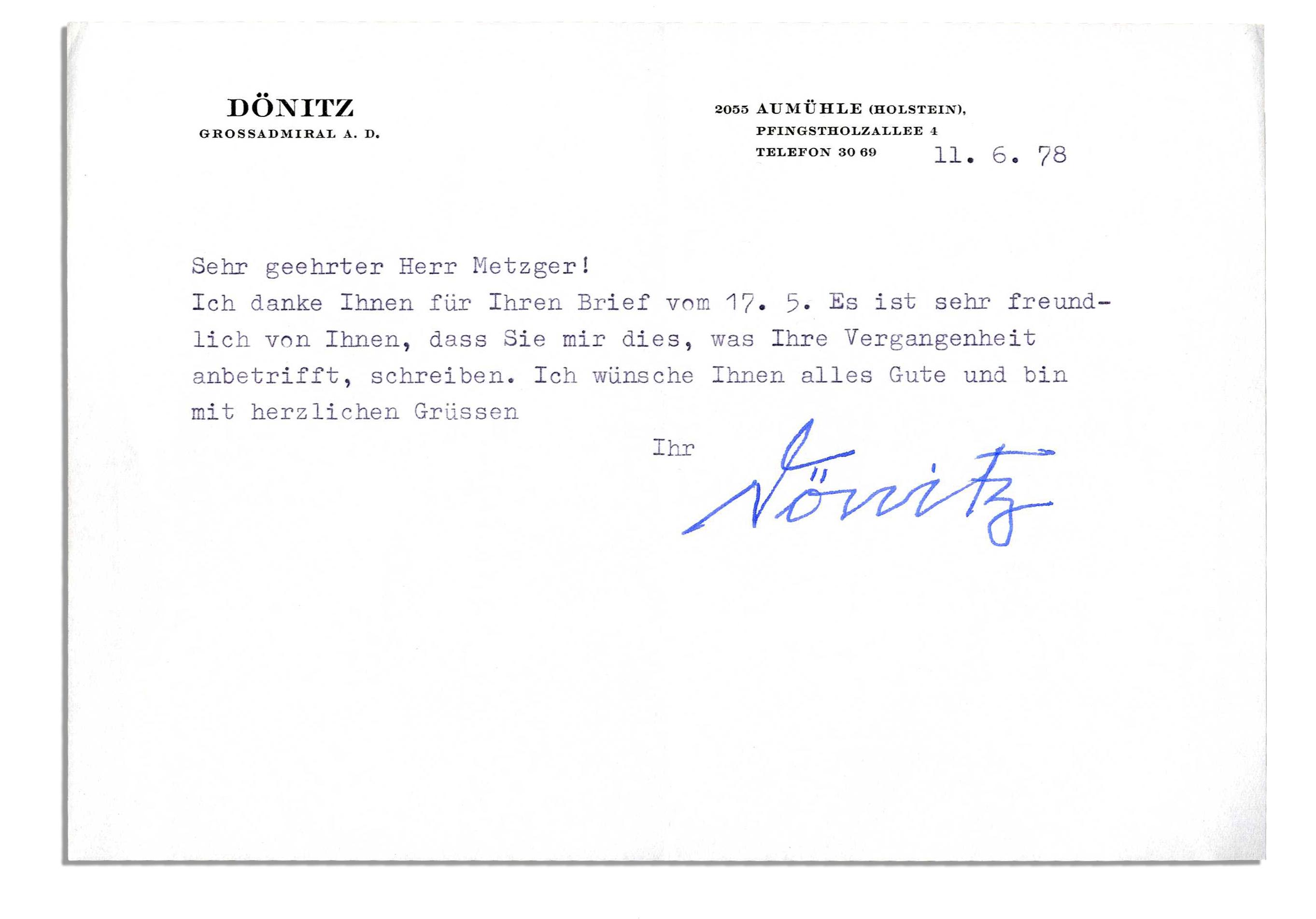 Lot Detail Karl Donitz Typed Letter Signed Hitlers Successor
