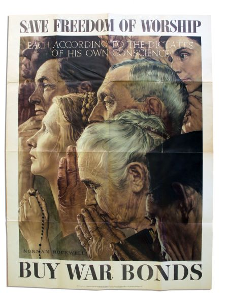 Lot detail wwii norman rockwell poster 39 39 save freedom - Buying premium bonds from post office ...
