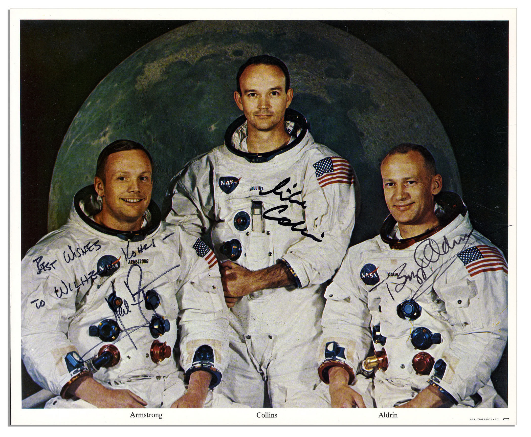 Apollo 11 Crew Signed 10'' x 8'' Photo -- Neil Armstrong, Buzz Aldrin & Michael CollinsAll > Space & AviationAll > Space & Aviation > Space