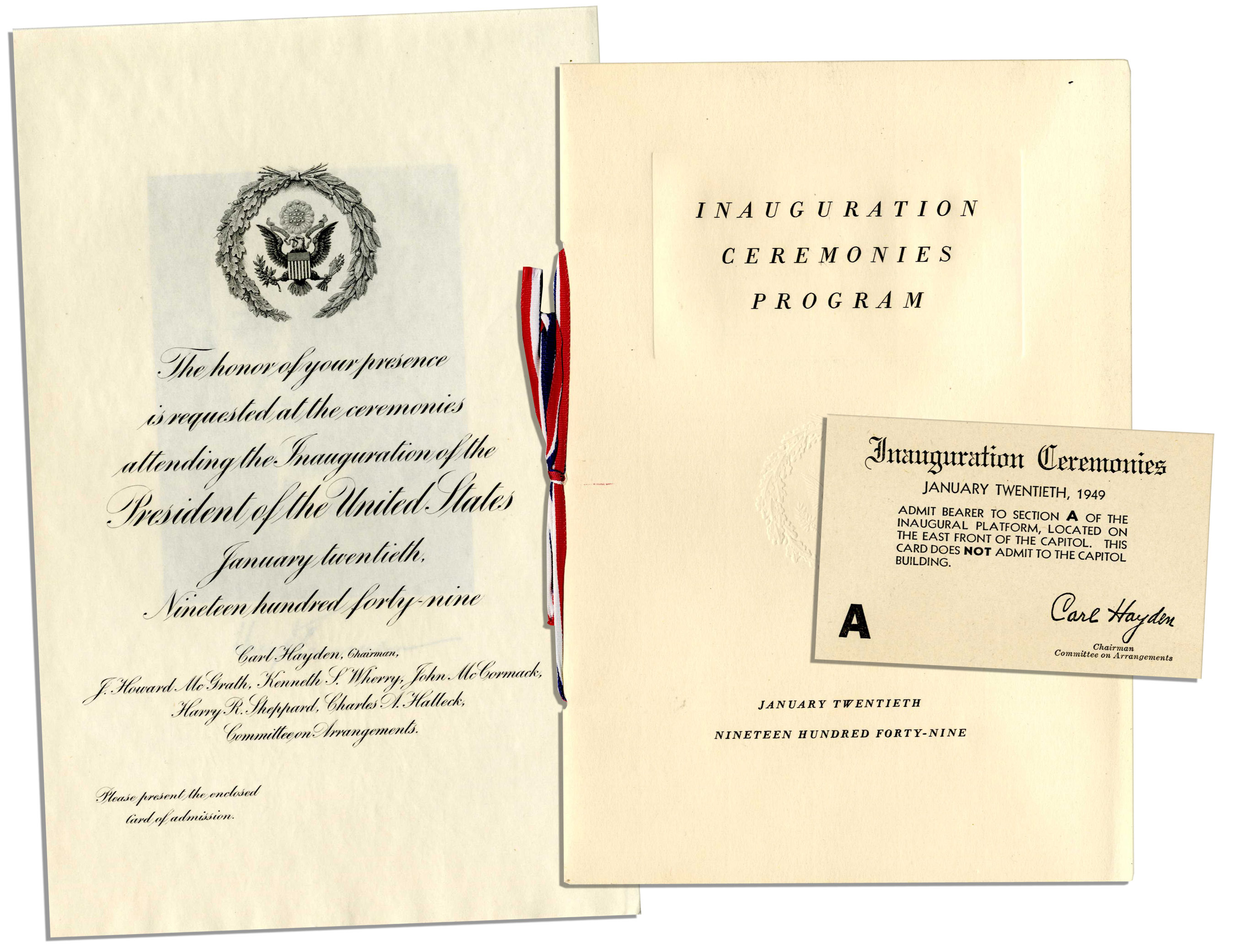 Lot detail harry truman inauguration memorabilia from 1949 harry truman inauguration memorabilia from 1949 invitation program and seating ticket stopboris Image collections