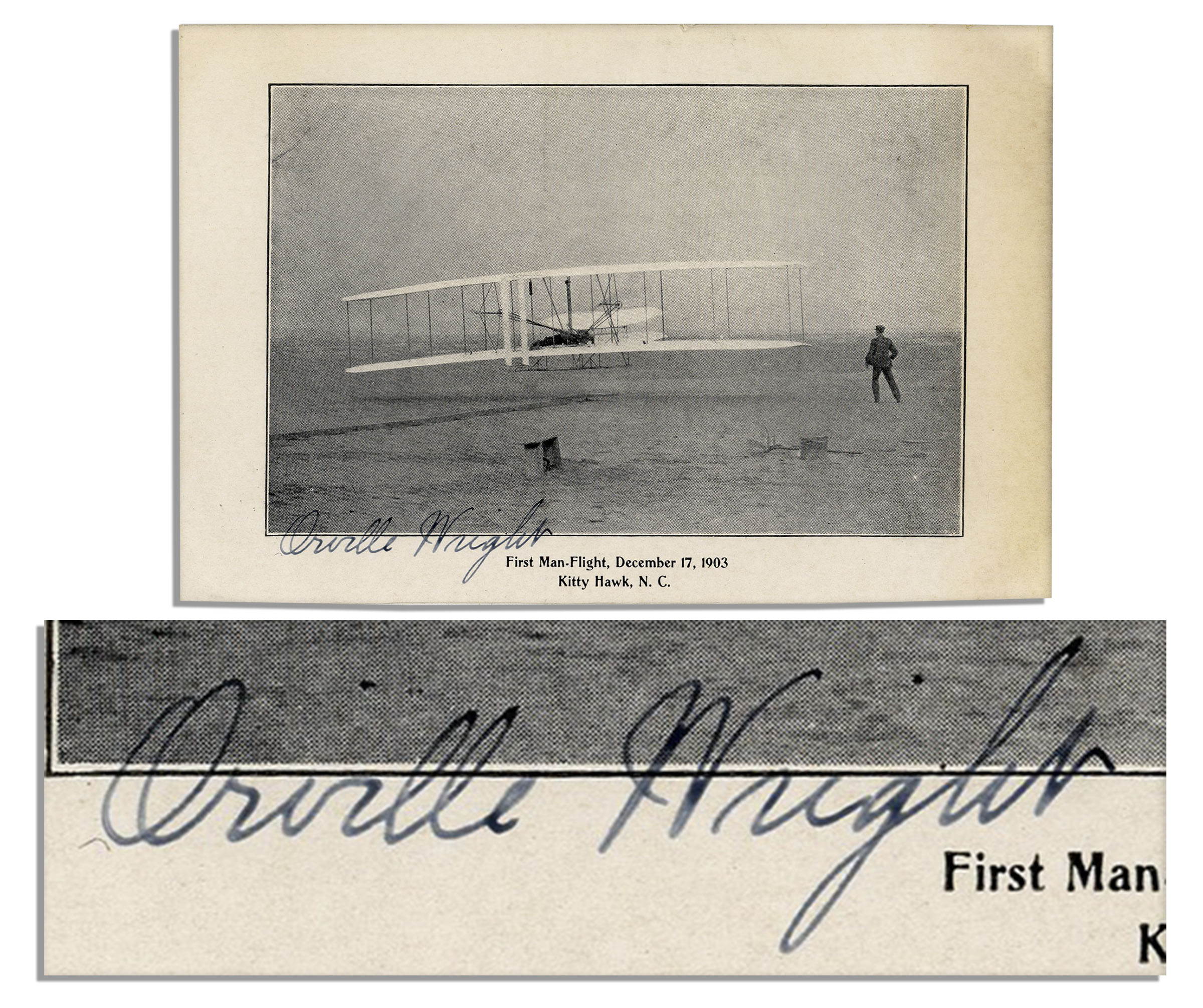 First Wright Brothers Flight within lot detail - orville wright signed photo of the wright brothers