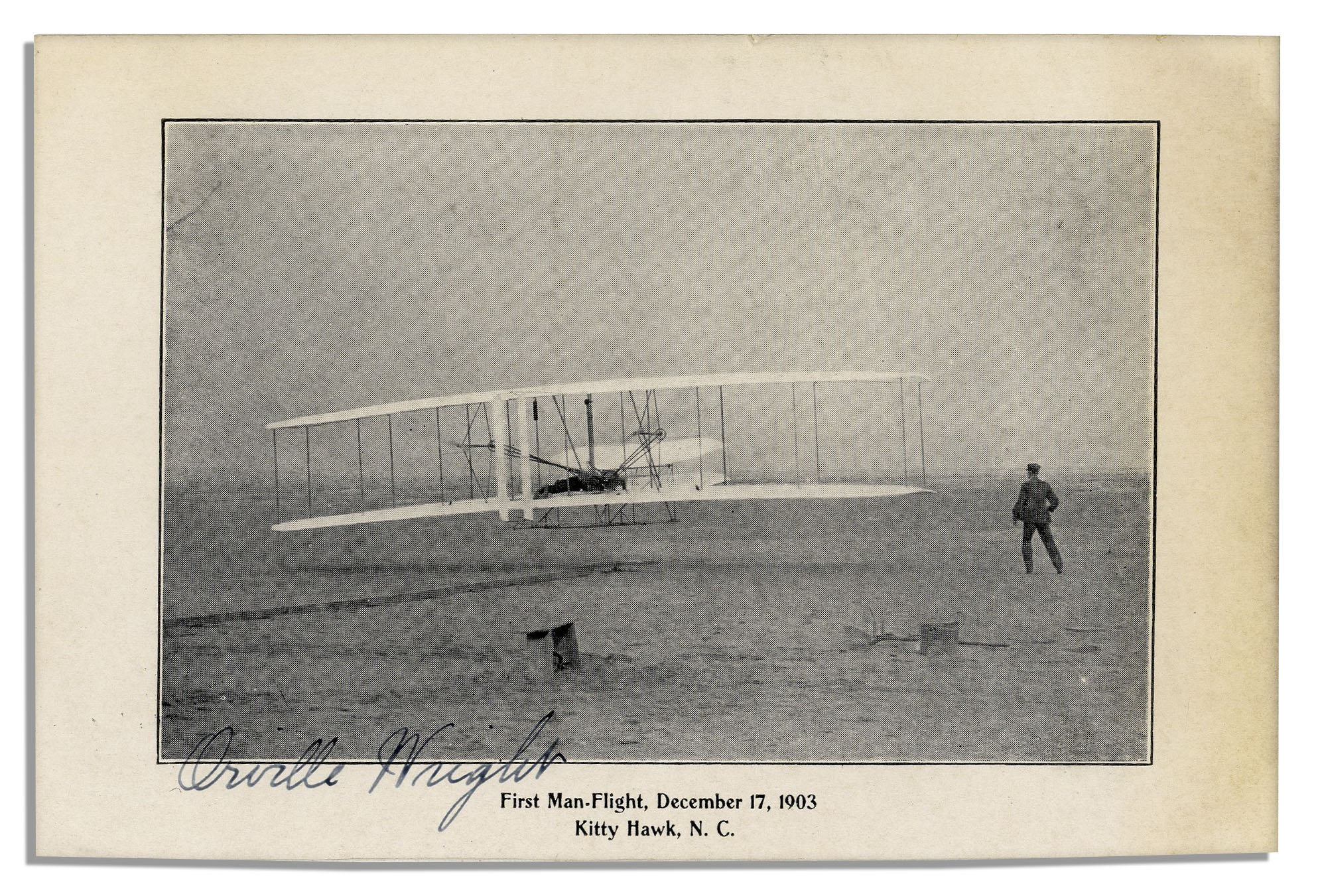 First Flight Kitty Hawk 1903 throughout lot detail - orville wright signed photo of the wright brothers