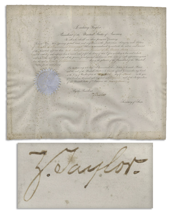 Zachary Taylor Autograph Exceedingly Rare President Zachary Taylor 1849 Cabinet Appointment -- Just Three Days After His Inauguration