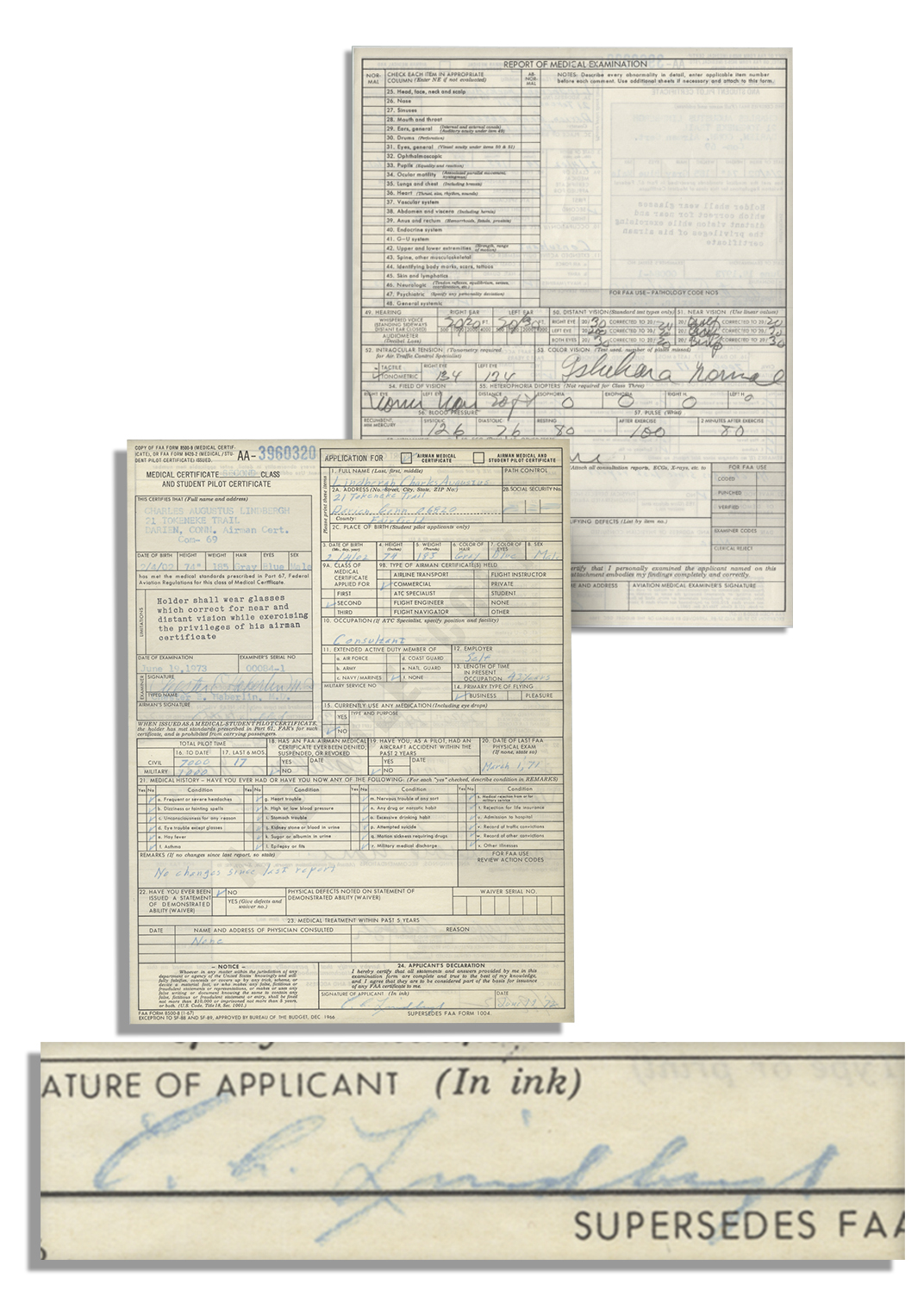 Lot detail charles lindbergh application for his airman charles lindbergh application for his airman medical certificate 1betcityfo Image collections