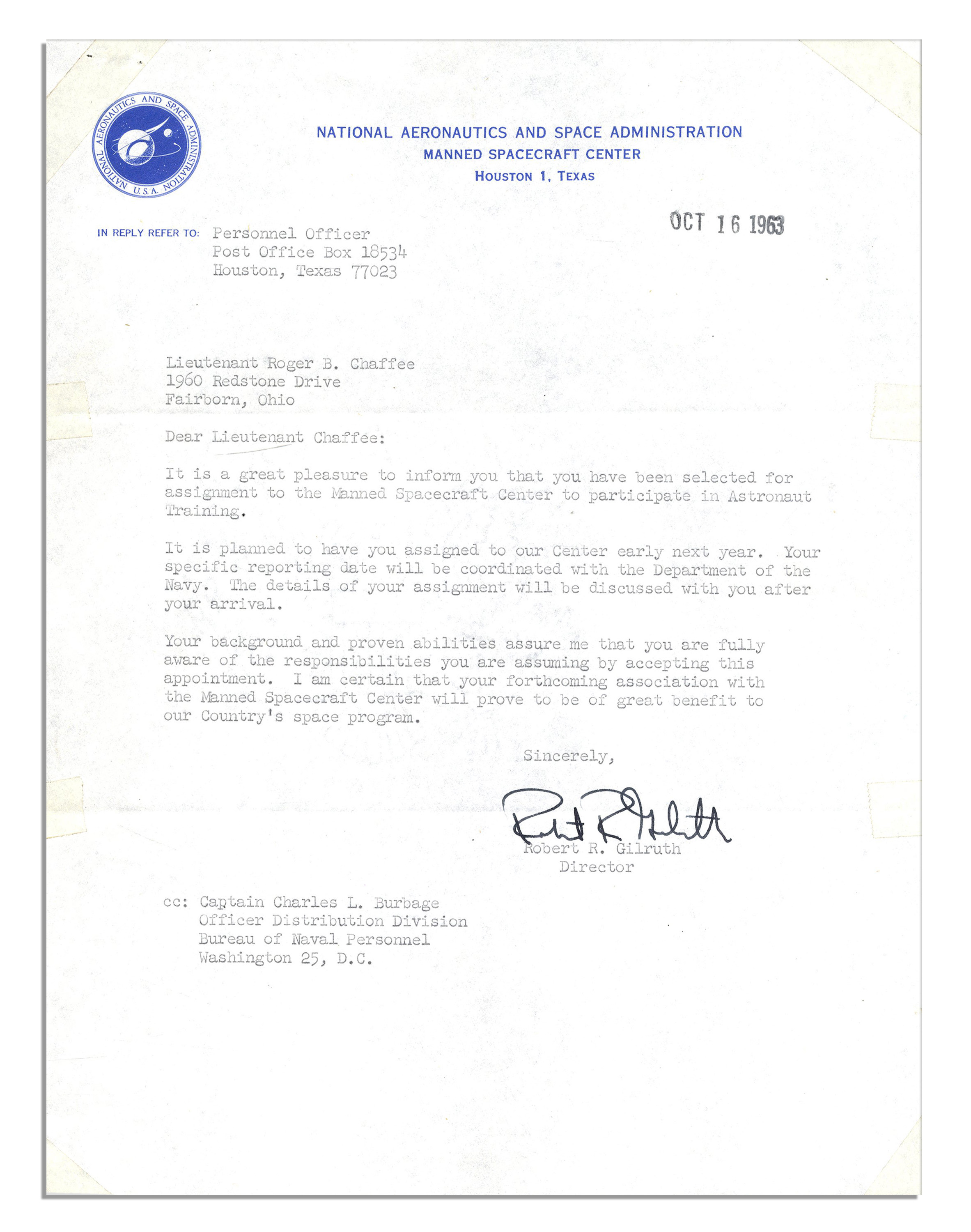 Lot detail roger chaffees 1963 astronaut acceptance letter roger chaffees 1963 astronaut acceptance letter signed by nasa director gilruth spiritdancerdesigns Gallery