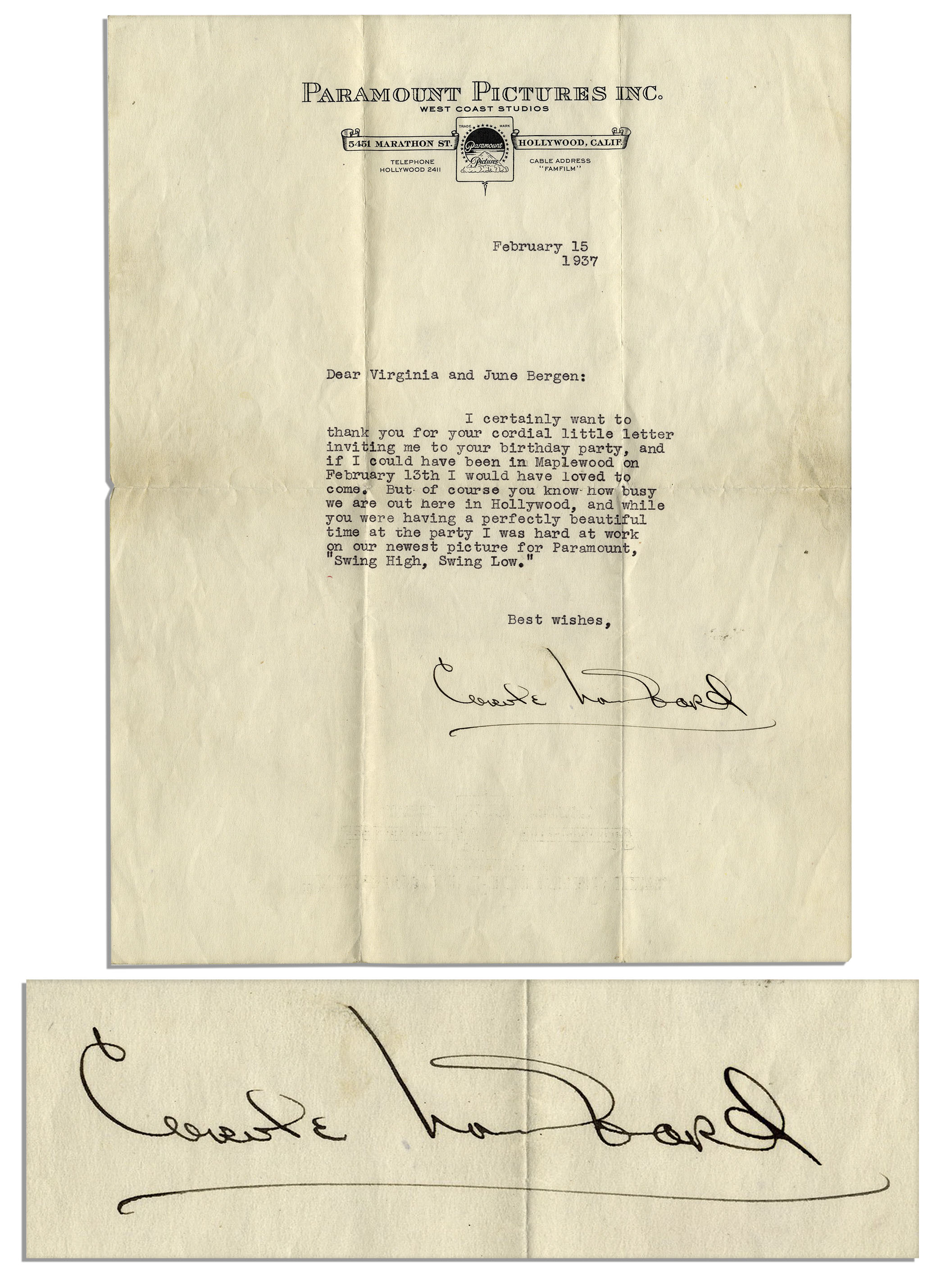 Lot detail carole lombard typed letter signed on paramount carole lombard typed letter signed on paramount pictures stationery filmwisefo