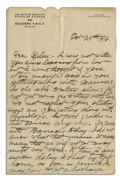 James Naismith Autograph Letter Signed to His Daughter During His WWI Service -- ''...How are you getting along with Physiology. Get good grades in that course anyway...'' -- With PSA/DNA COA