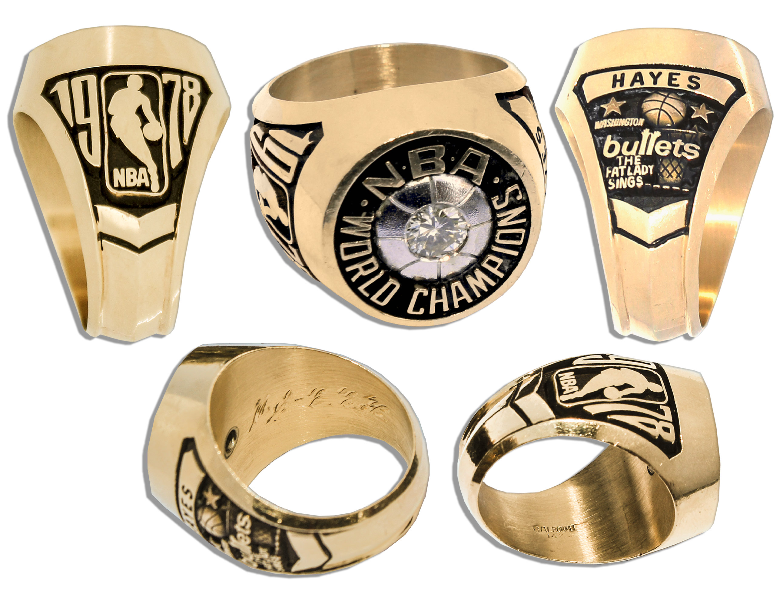 basketball championship ring auction Elvin Hayes 1977-78 Washington Bullets NBA 14 Carat Gold Championship Ring