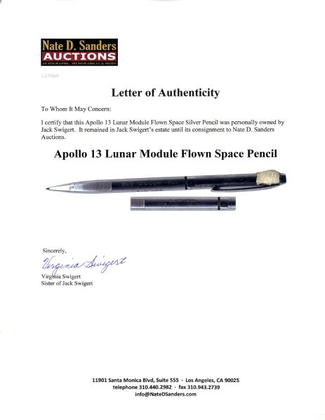 Apollo 13 Lunar Module Flown Space Silver Pencil Owned By Jack Swigert