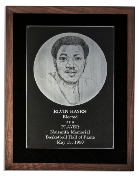 Elvin Hayes 1990 Hall of Fame Plaque -- Commemorating His Record-Breaking Career as One of the 50th Greatest Players in NBA History
