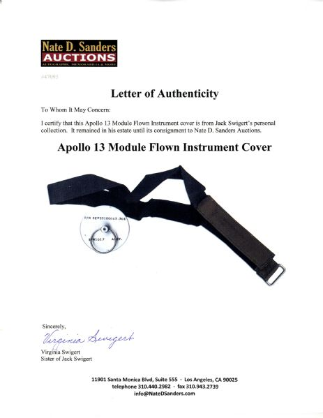 Apollo 13 Flown Instrument Cover & Omega Velcro Watch Strap From Jack Swigert's Estate
