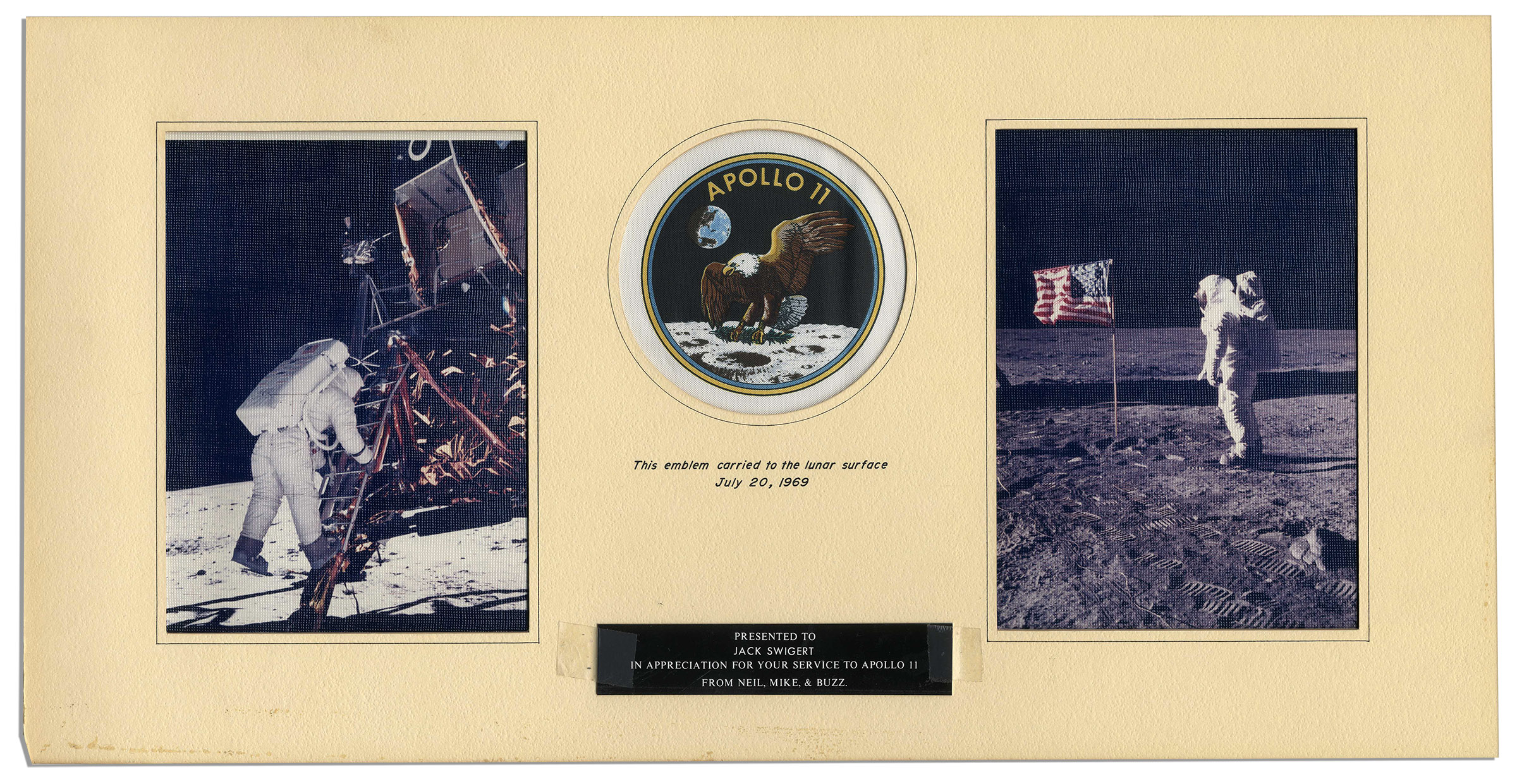 Apollo 11 Patch Flown to the Moon Jack Swigert's Own Official NASA Apollo 11 Patch Flown to the Lunar Surface