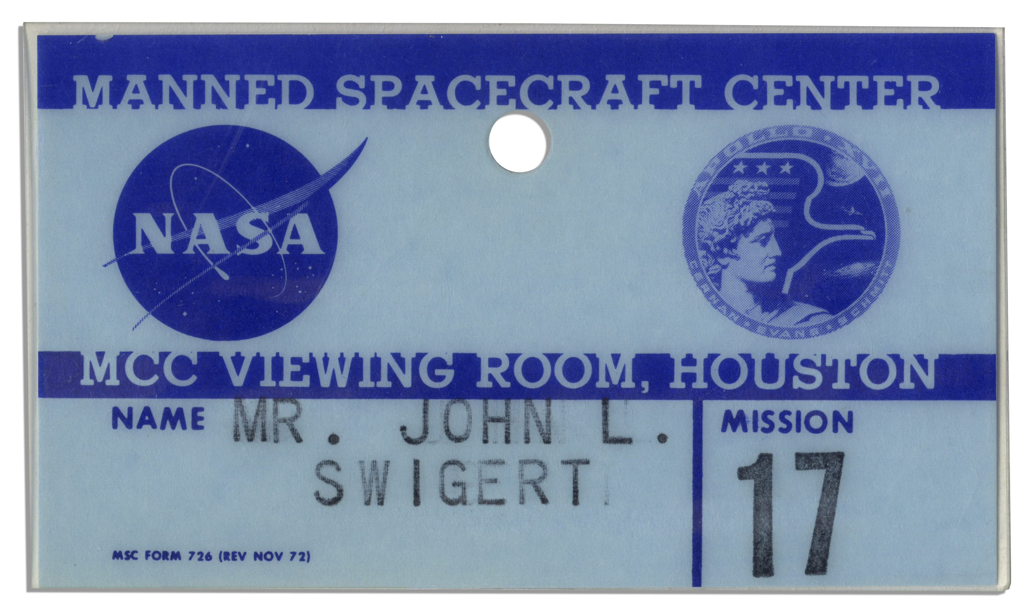 lot detail jack swigert 39 s apollo 17 badge issued by nasa fine. Black Bedroom Furniture Sets. Home Design Ideas