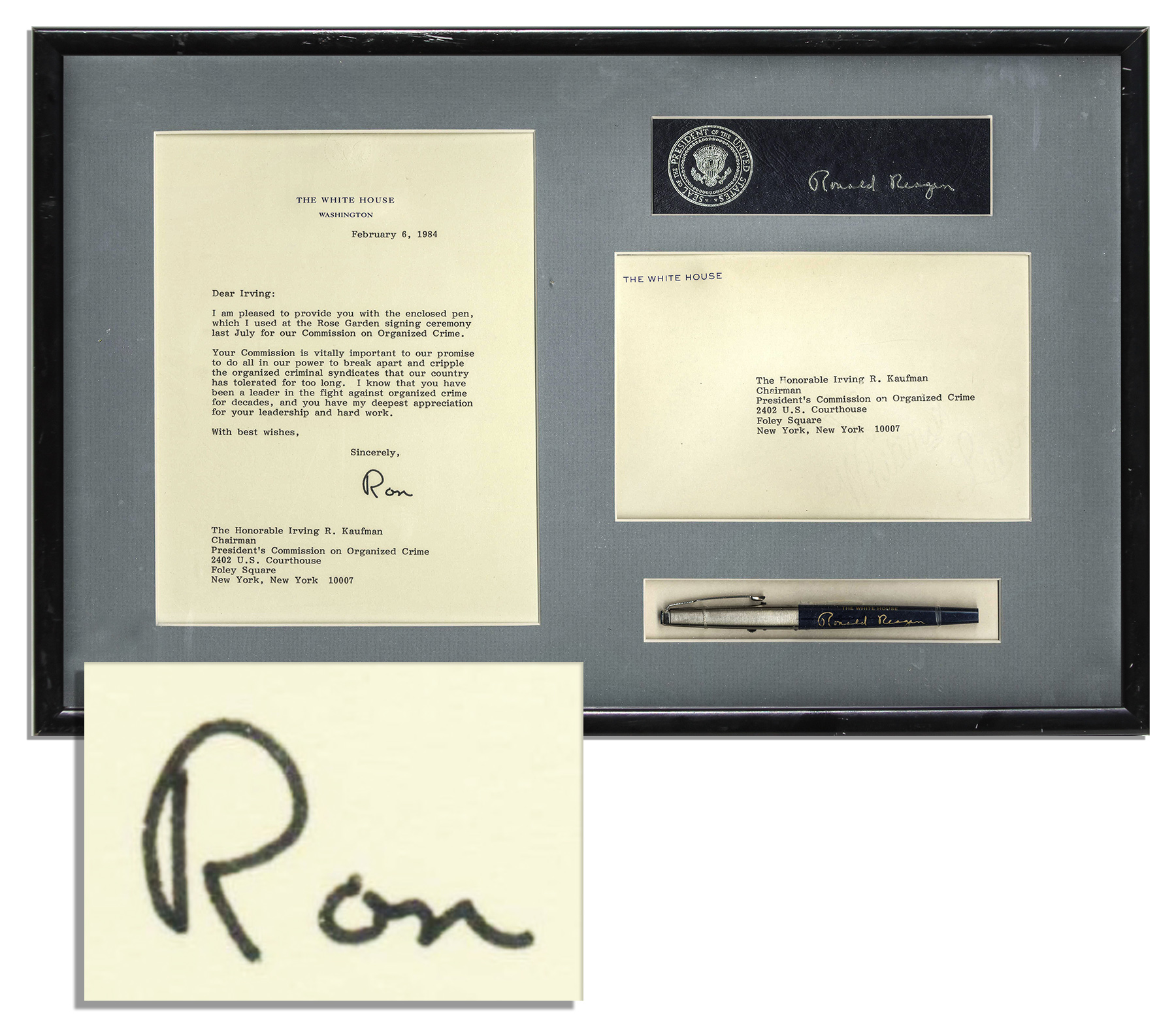White House Pen Ronald Reagan Personally Owned & Used Pen -- Used to Sign the President's Commission on Organized Crime Important Executive Order